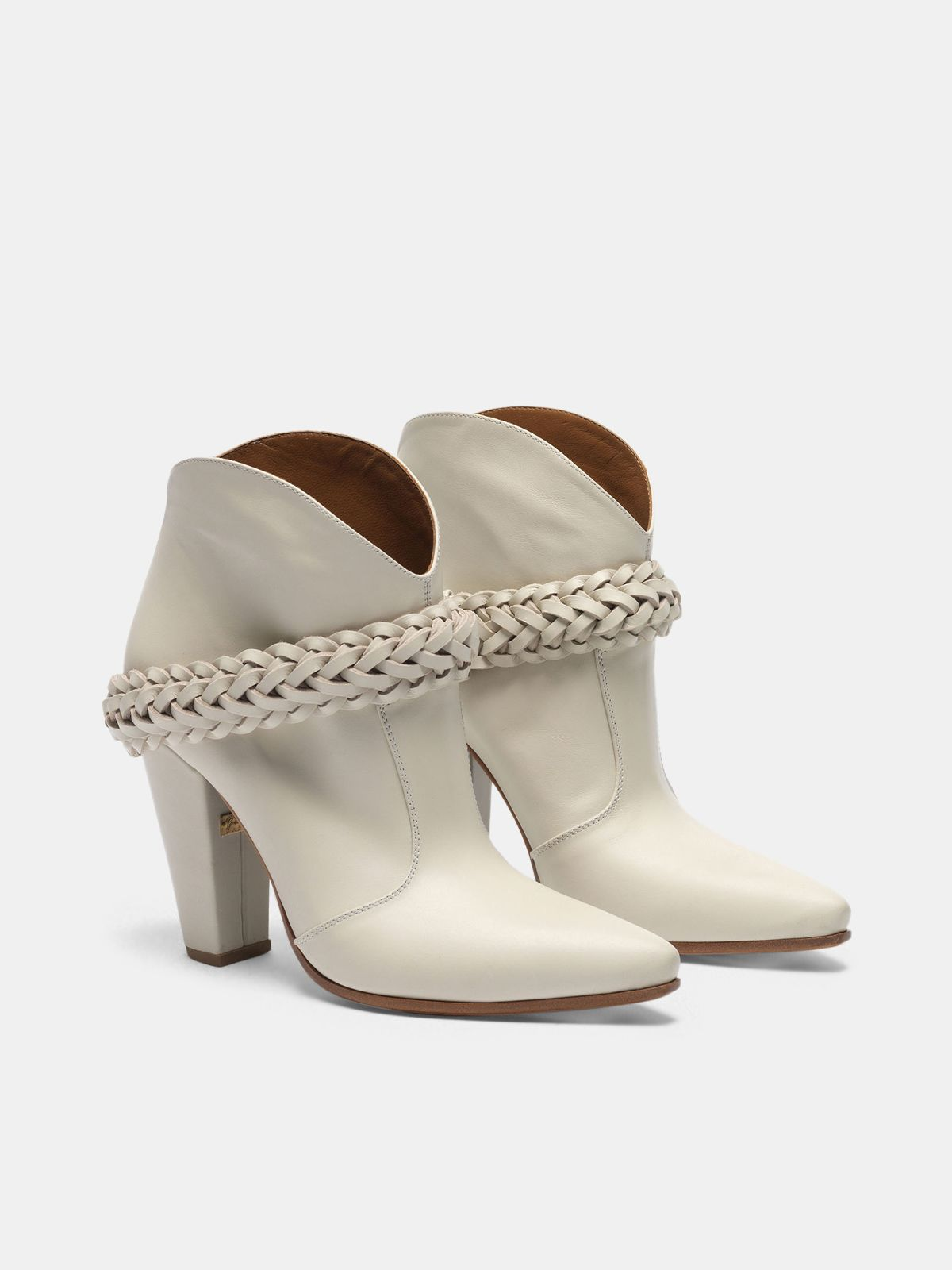 Golden Goose - Low white Michelle ankle boots in