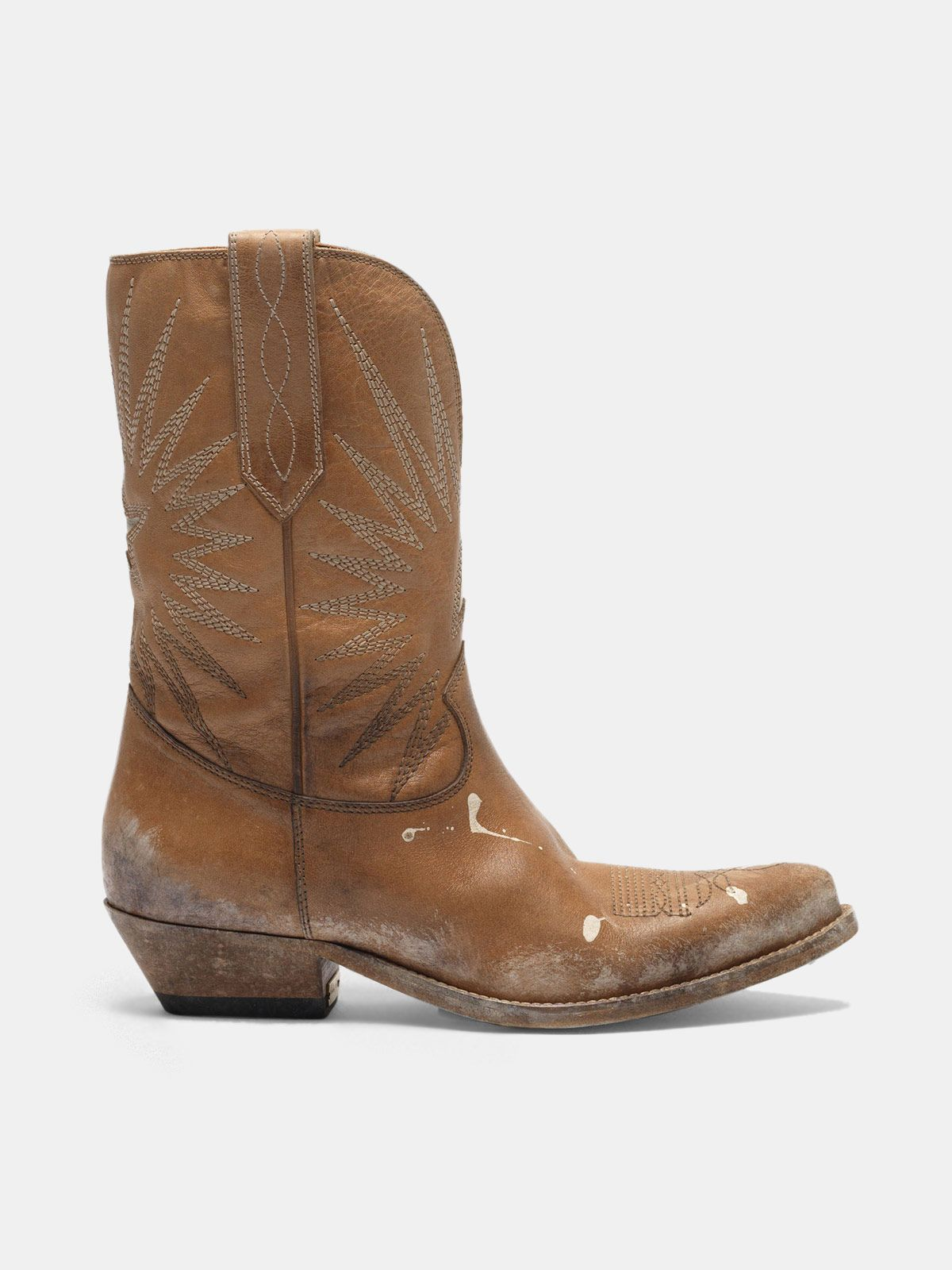 Golden Goose - Low Wish Star boots with honey-coloured vegetable tanning in
