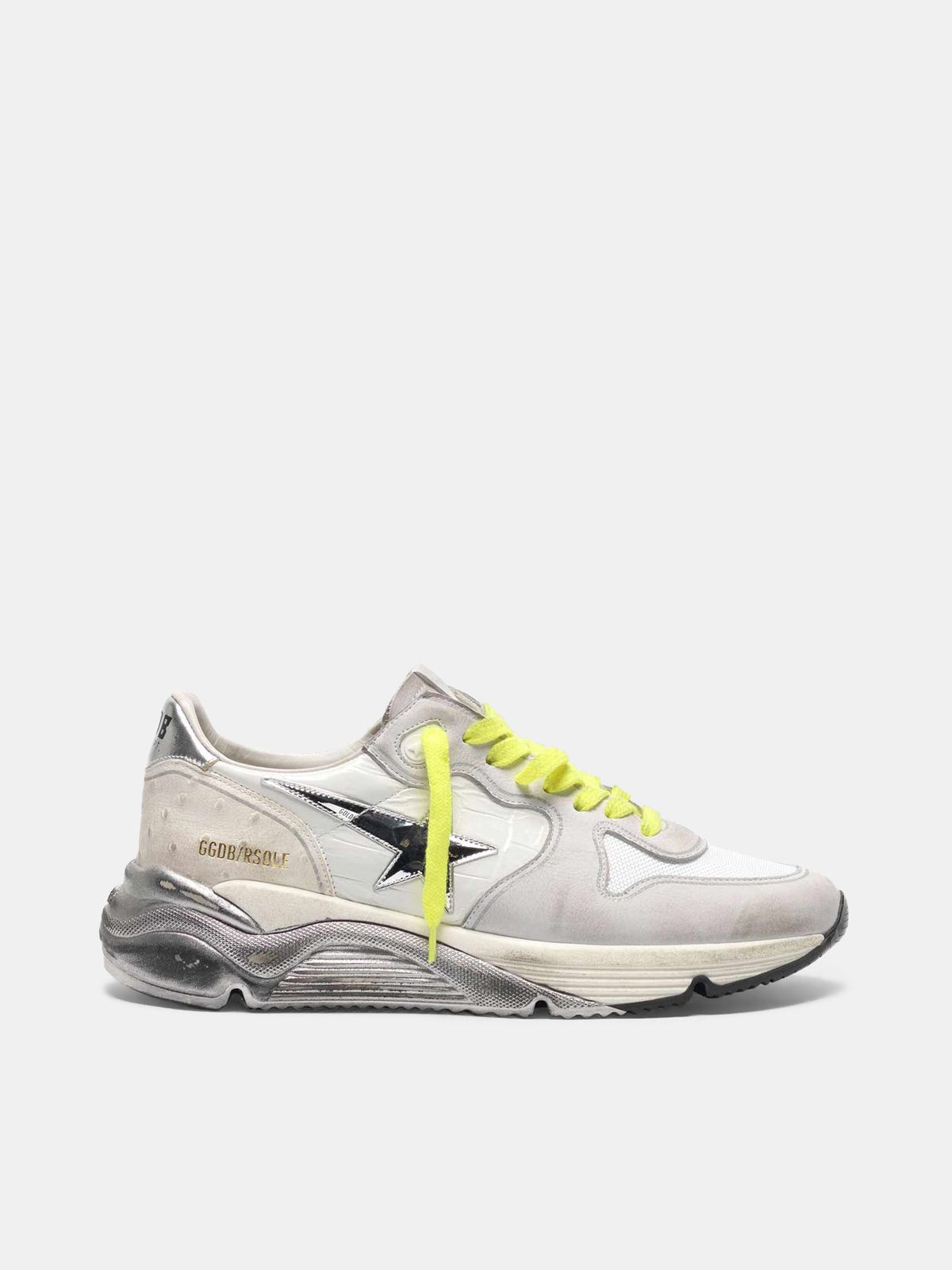 Golden Goose - Patchwork shades Running Sole sneakers with silver star in