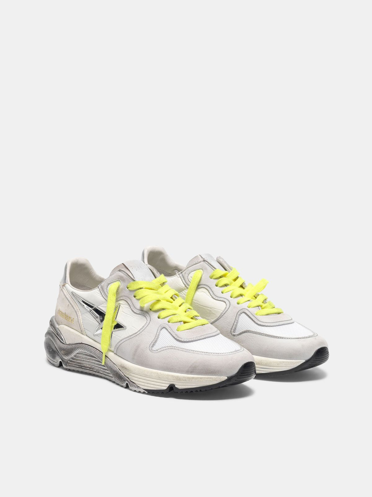 Golden Goose - Sneakers Running Sole bianche patchwork con stella argento in