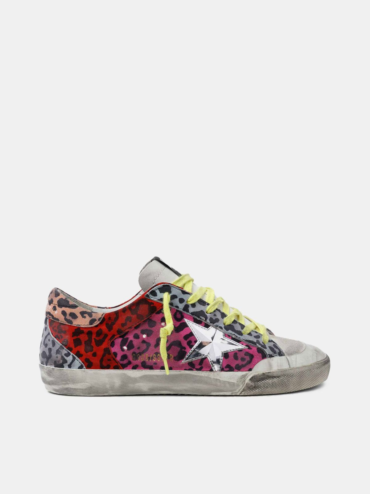 Golden Goose - Multicoloured animal-print Super-Star sneakers with chrome star in