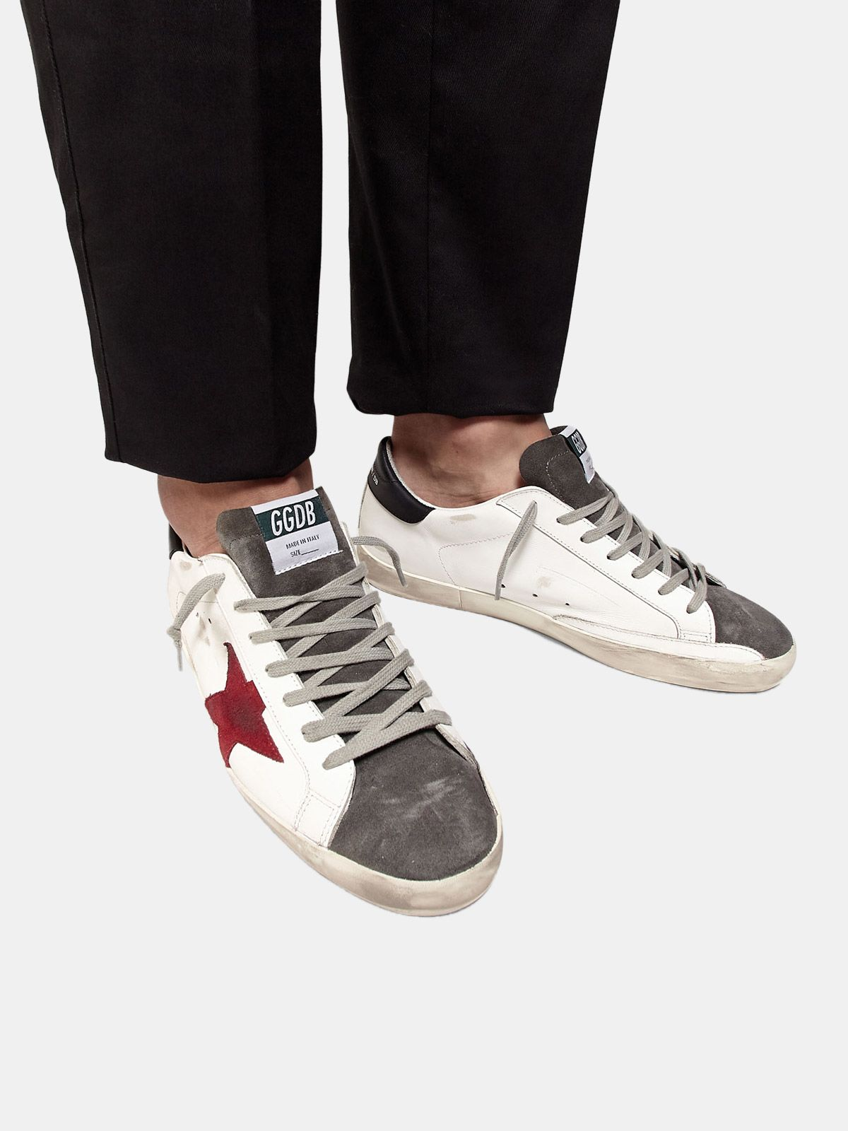 Golden Goose - Super-Star sneakers in leather with insert and star in suede in