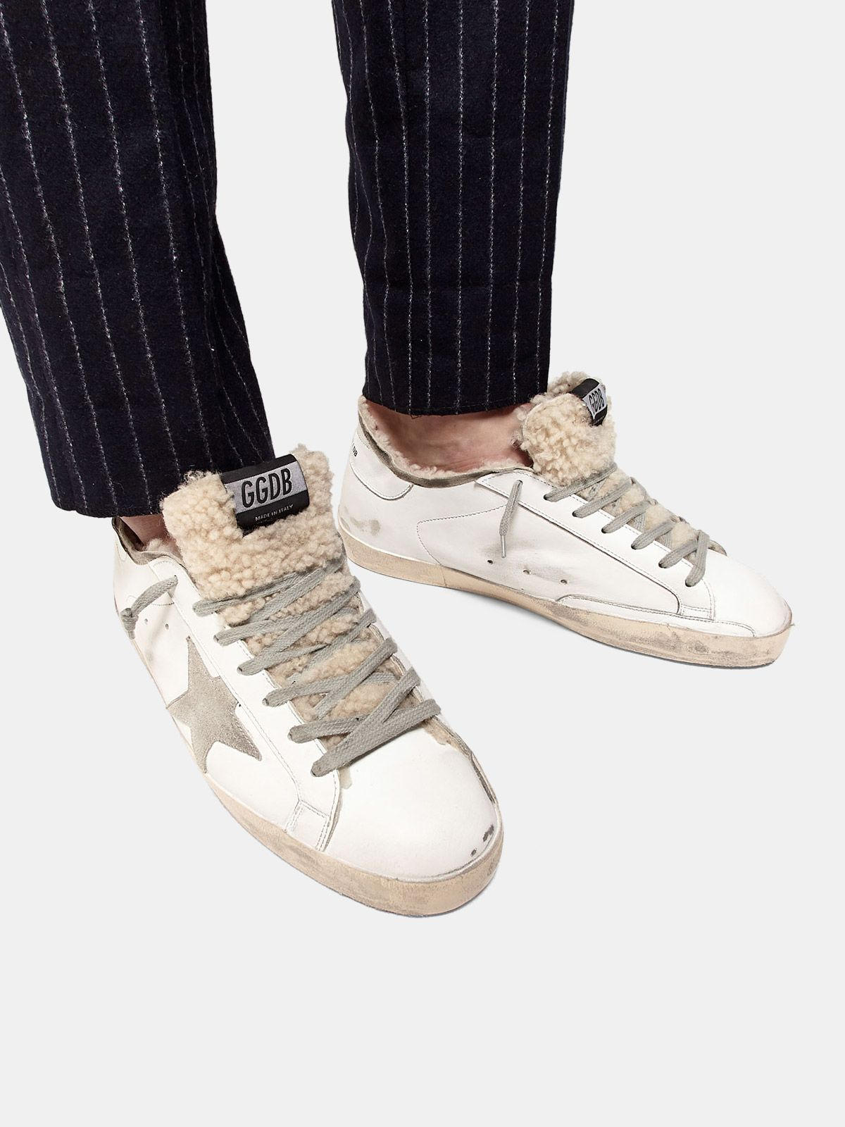 Golden Goose - Super-Star sneakers with double structure in shearling in