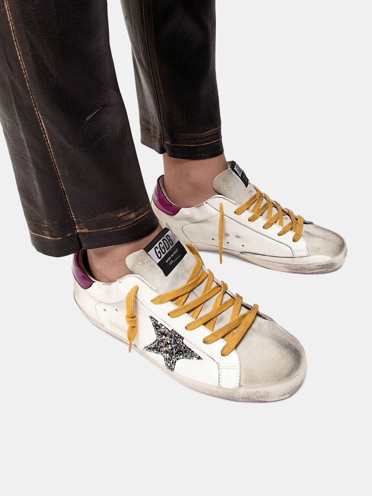 Golden Goose - Super-Star sneakers in leather with glittery star in