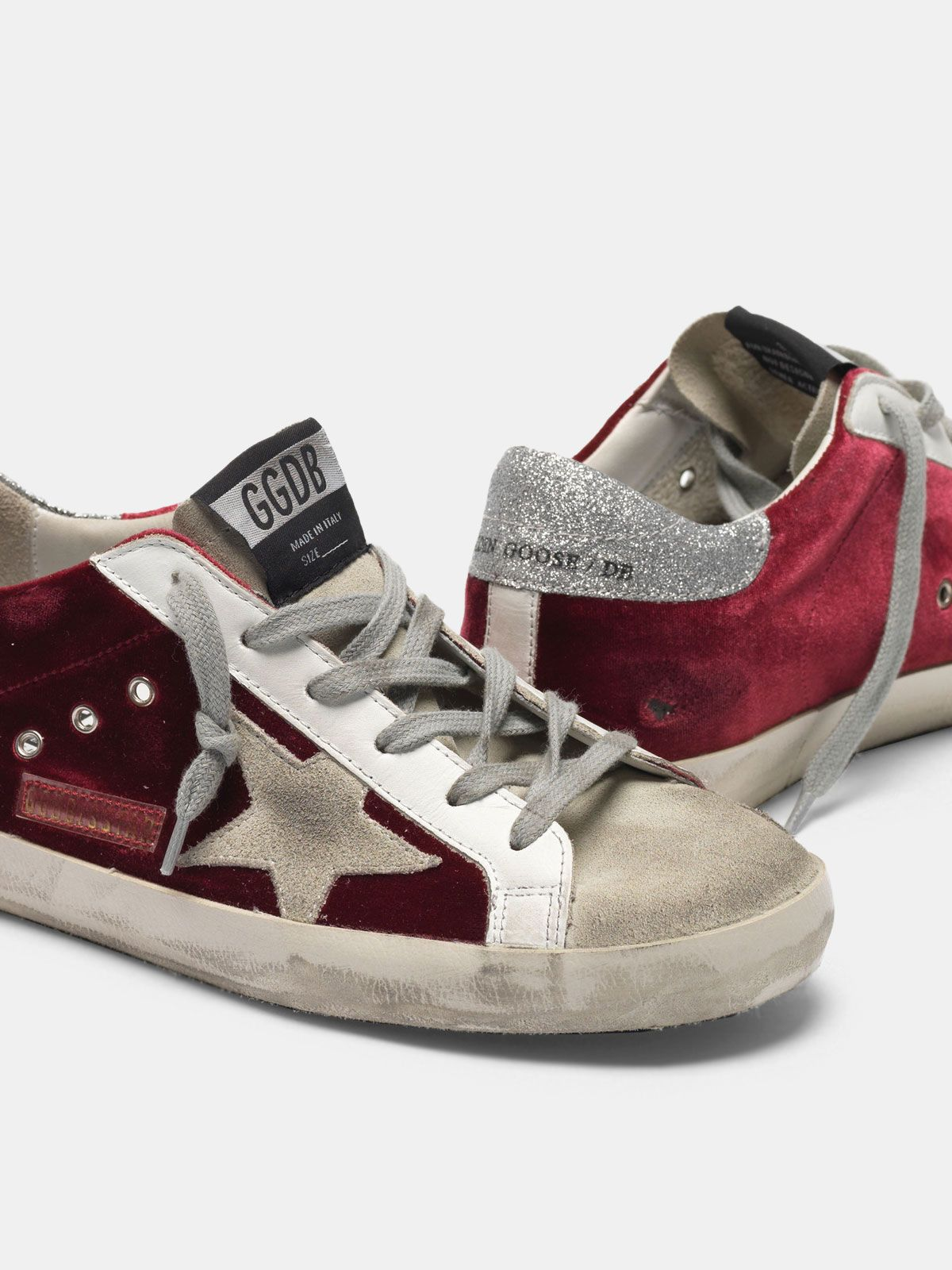 Golden Goose - Super-Star sneakers in velvet with glittery heel tab in