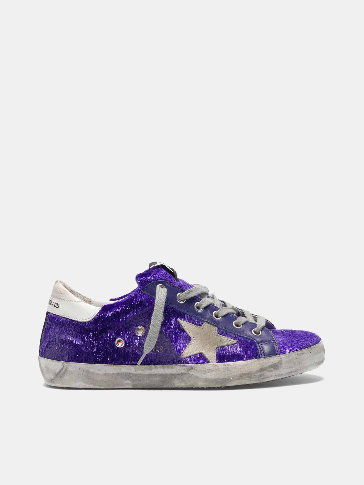 Golden Goose - Super-Star sneakers with purple shimmer lamé threads in