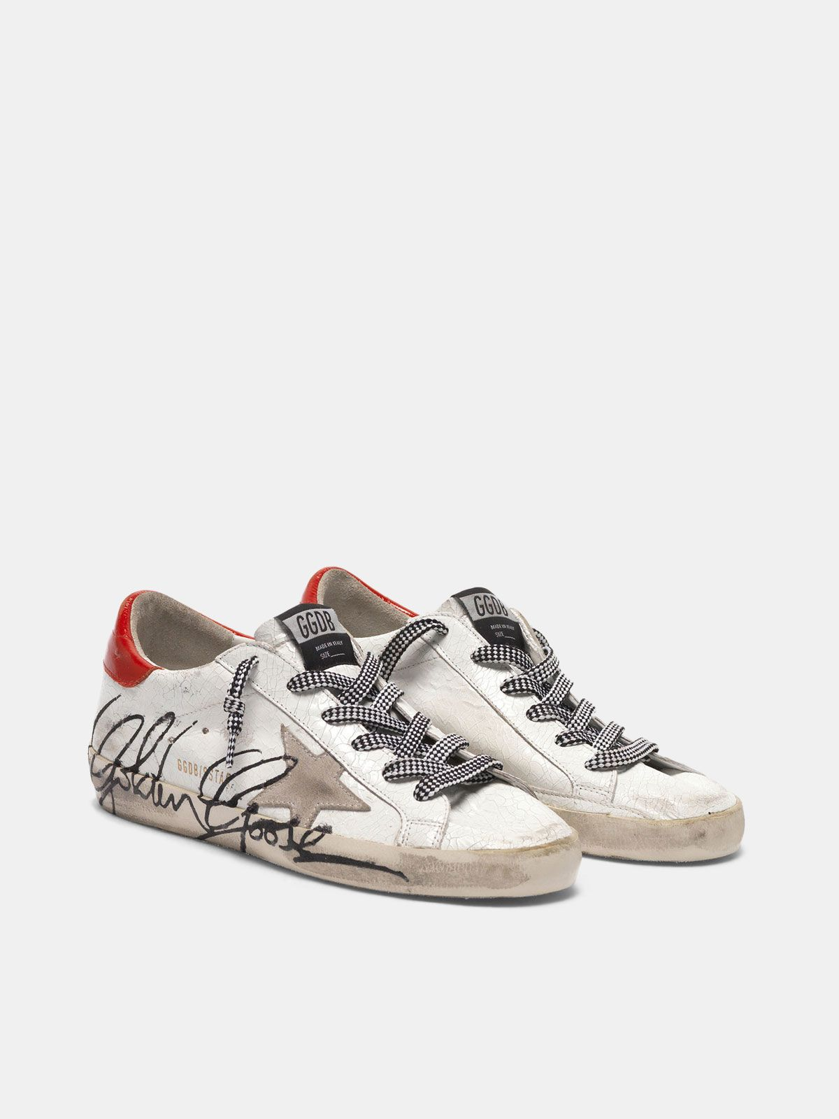 Golden Goose - Super-Star sneakers in crackle effect patent leather in