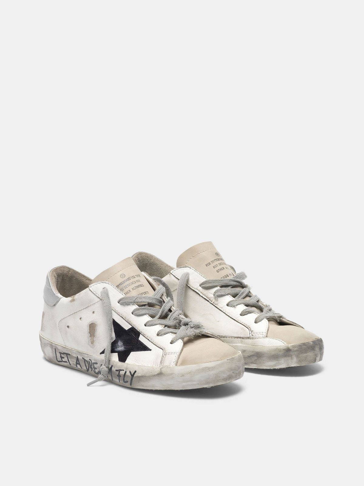 "Golden Goose - Super-Star sneakers in leather with ""Let a dream fly"" lettering in"