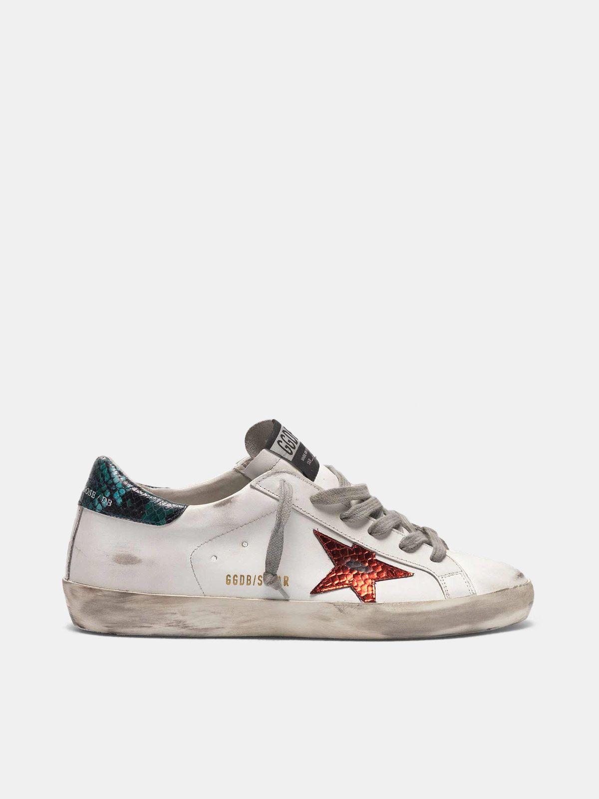 Golden Goose - Sneakers Super-Star avec étoile et talon en imprimé serpent in