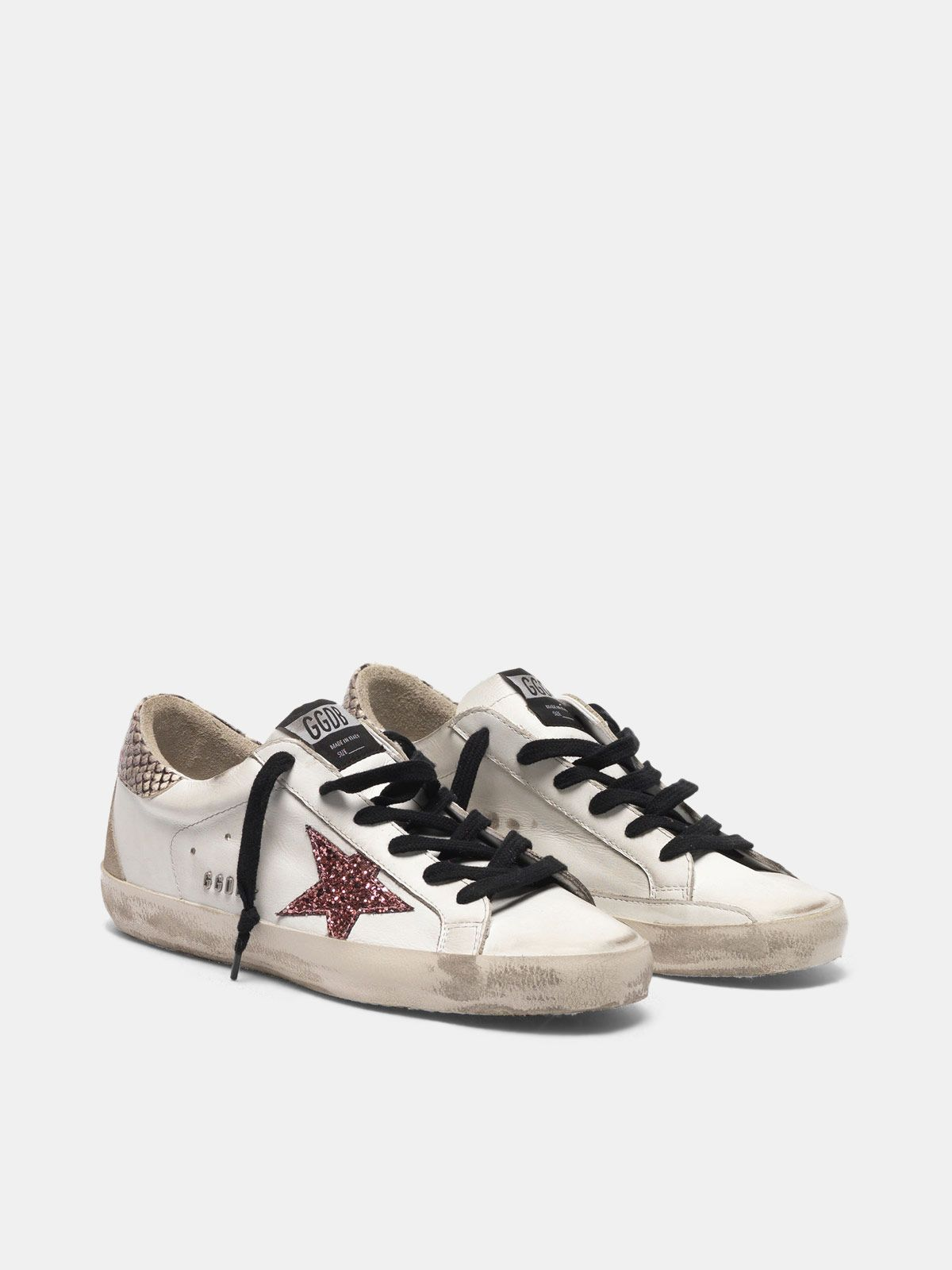 Golden Goose - Super-Star sneakers with glitter star, snakeskin print heel tab and metal stud lettering in