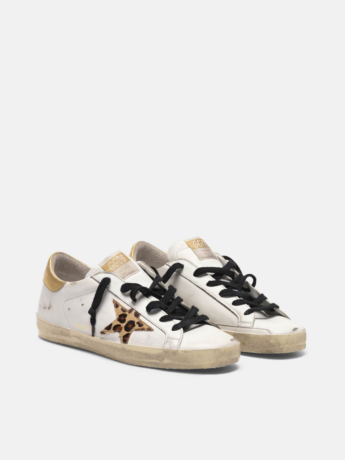 Golden Goose - Super-Star sneakers with leopard print star and snakeskin print heel tab in