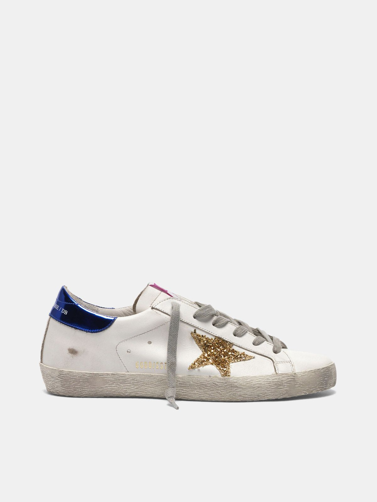 Golden Goose - Super-Star sneakers in leather with glitter star in