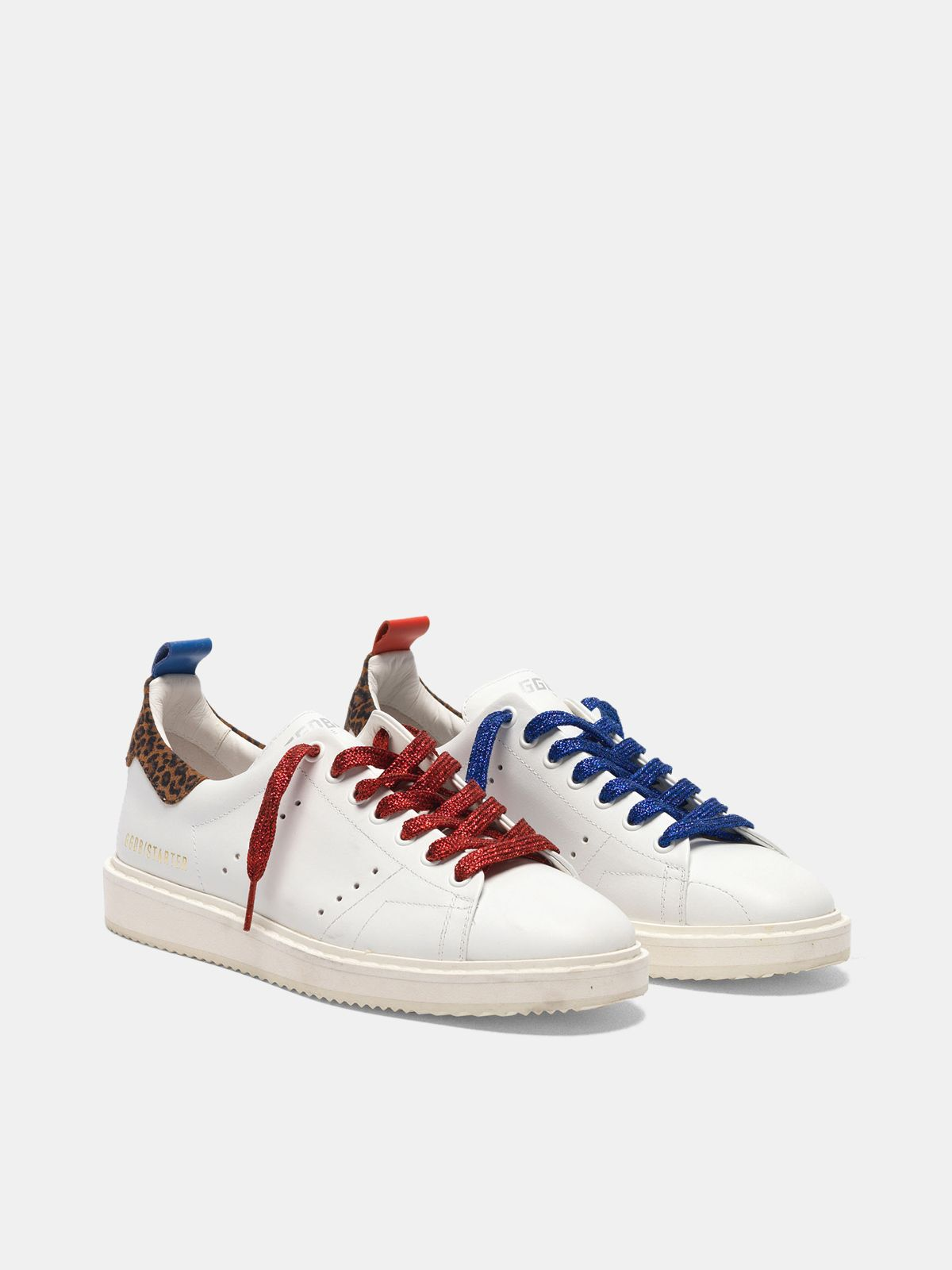 Golden Goose - Starter sneakers in leather with leopard-print heel tab in