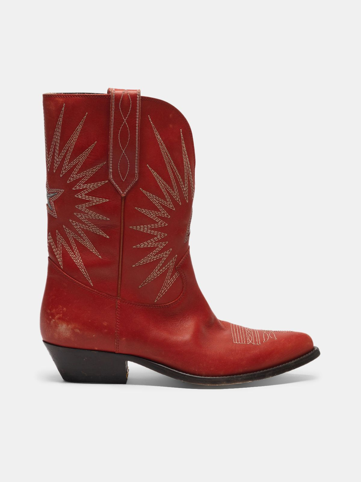 Golden Goose - Low Wish Star boots in leather with GGDB star in