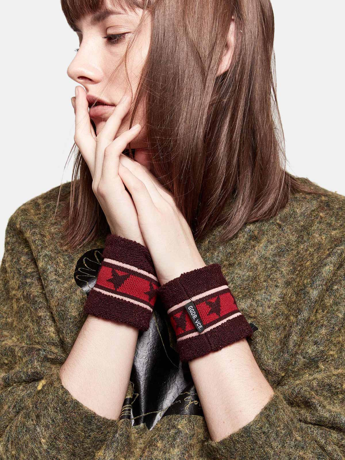 Golden Goose - Yori wristbands in terry stitch with thread embroidery in