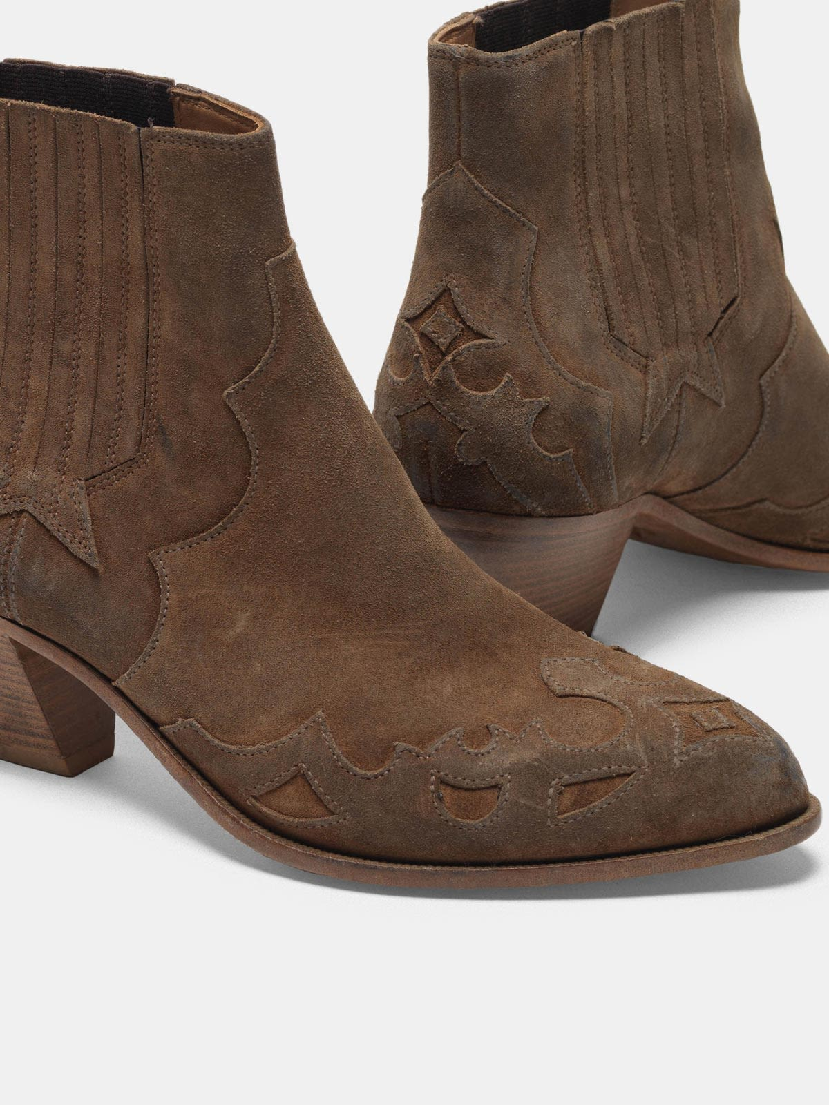Golden Goose - Sunset Flowers ankle boots in suede with cowboy-style decoration in