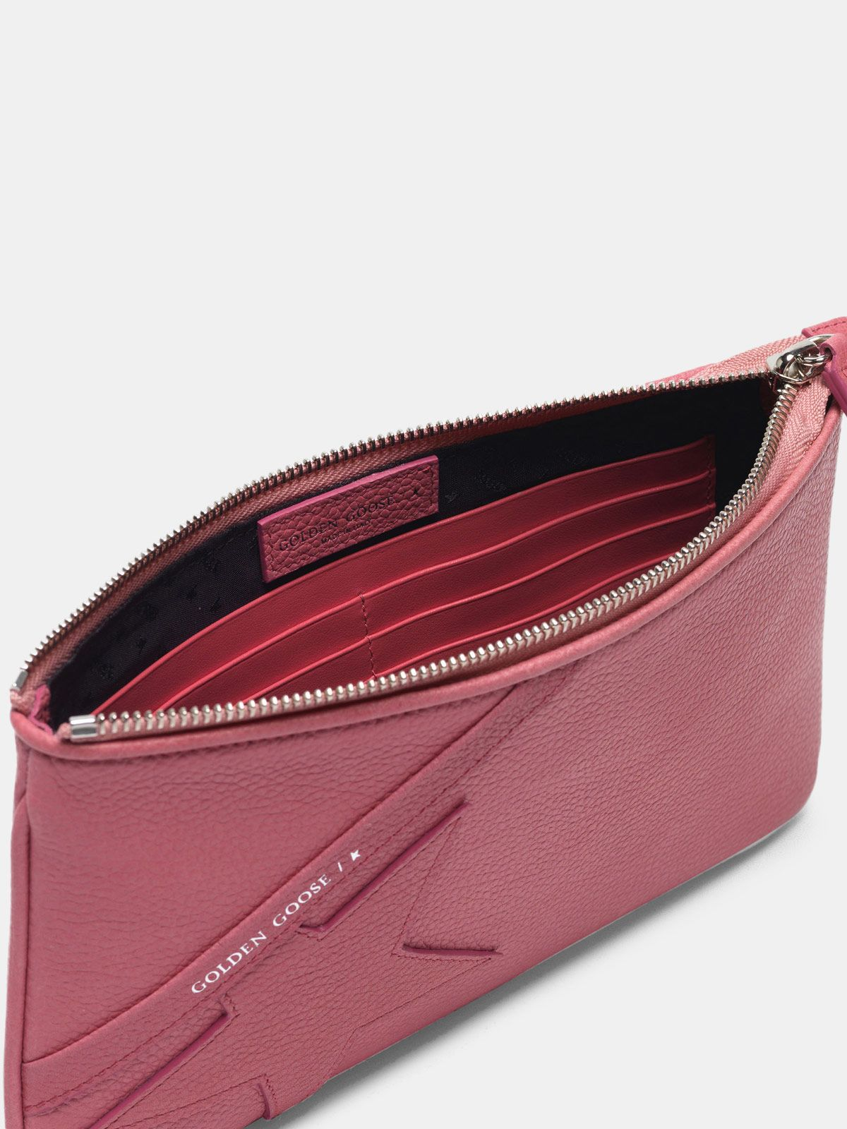 Golden Goose - Pink Star Wrist clutch bag in grained leather in