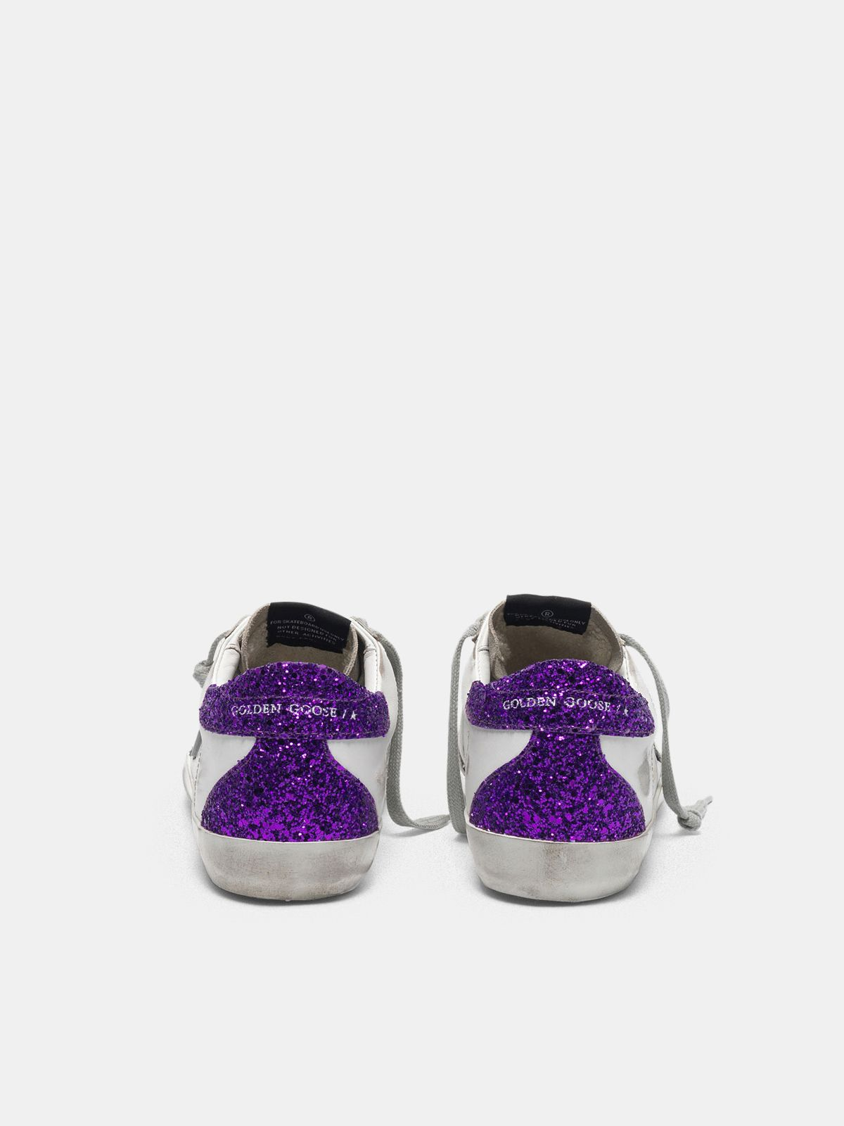 Golden Goose - White Super-Star sneakers with glittery purple rear in