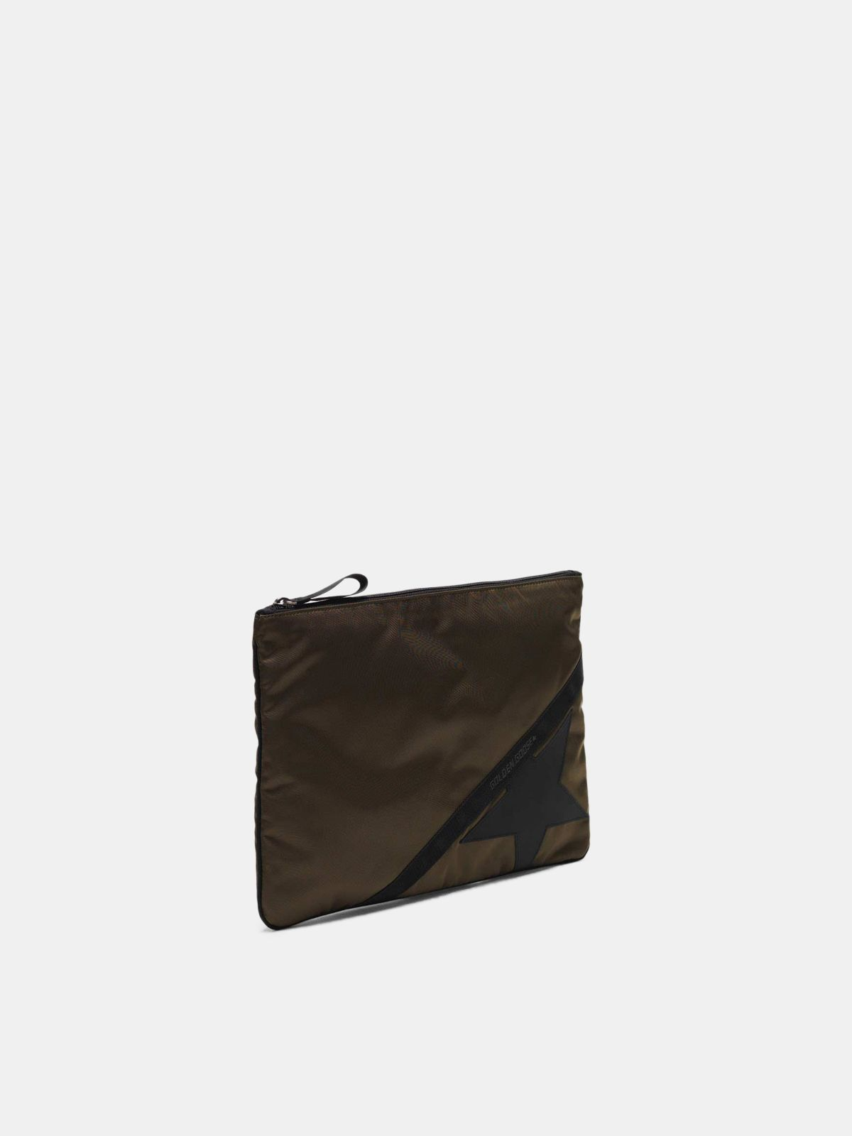 Golden Goose - Large military green nylon Journey pouch in
