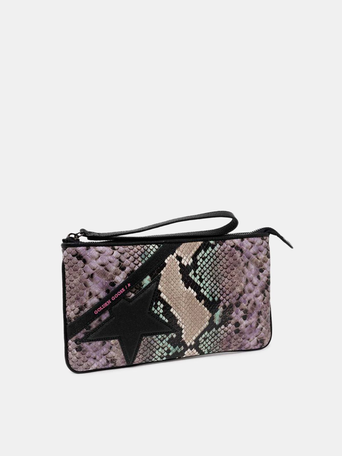 Golden Goose - Star Wrist clutch bag with python print and glitter star in