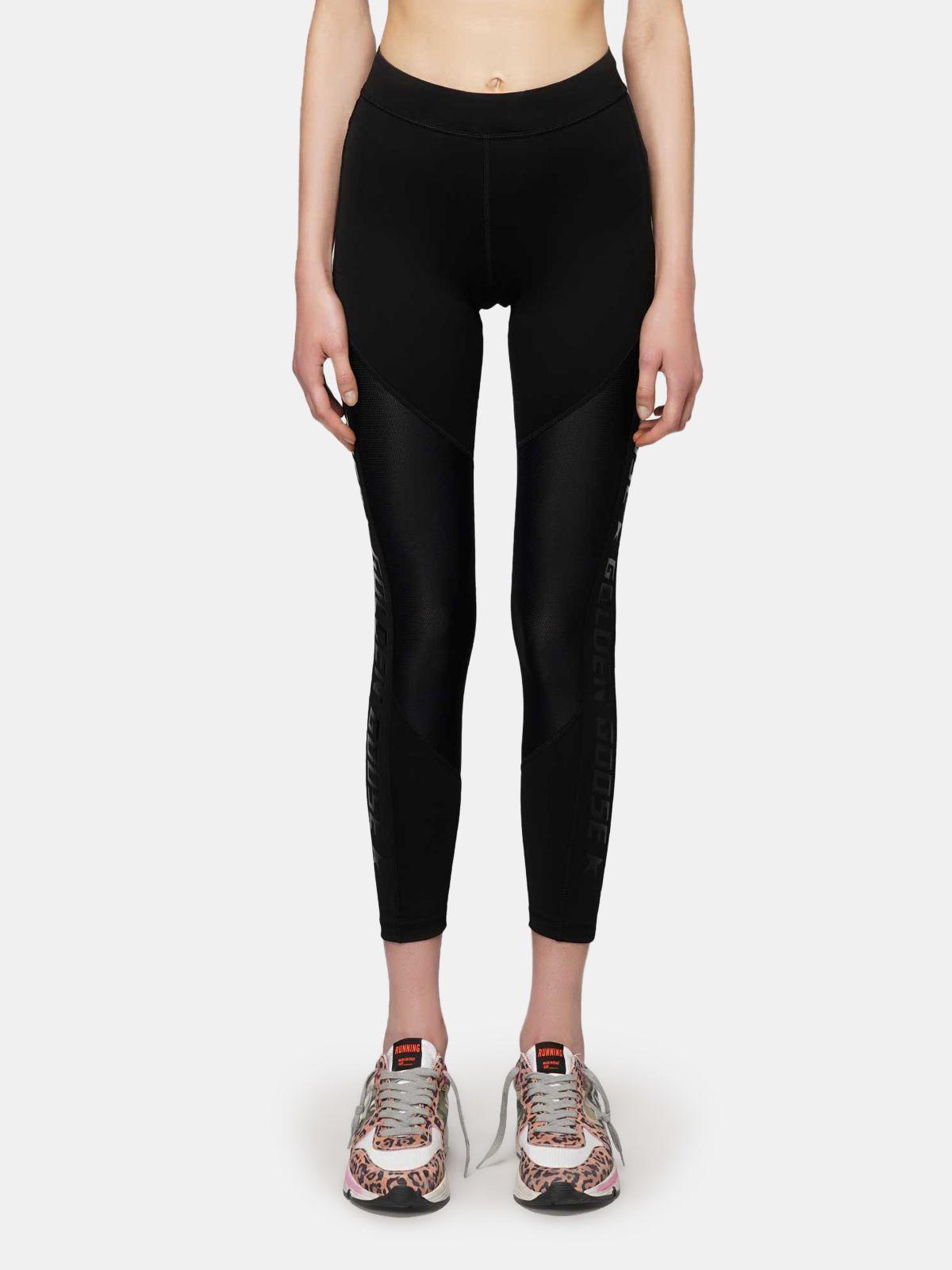 Golden Goose - Black Nori leggings in technical fabric and mesh in