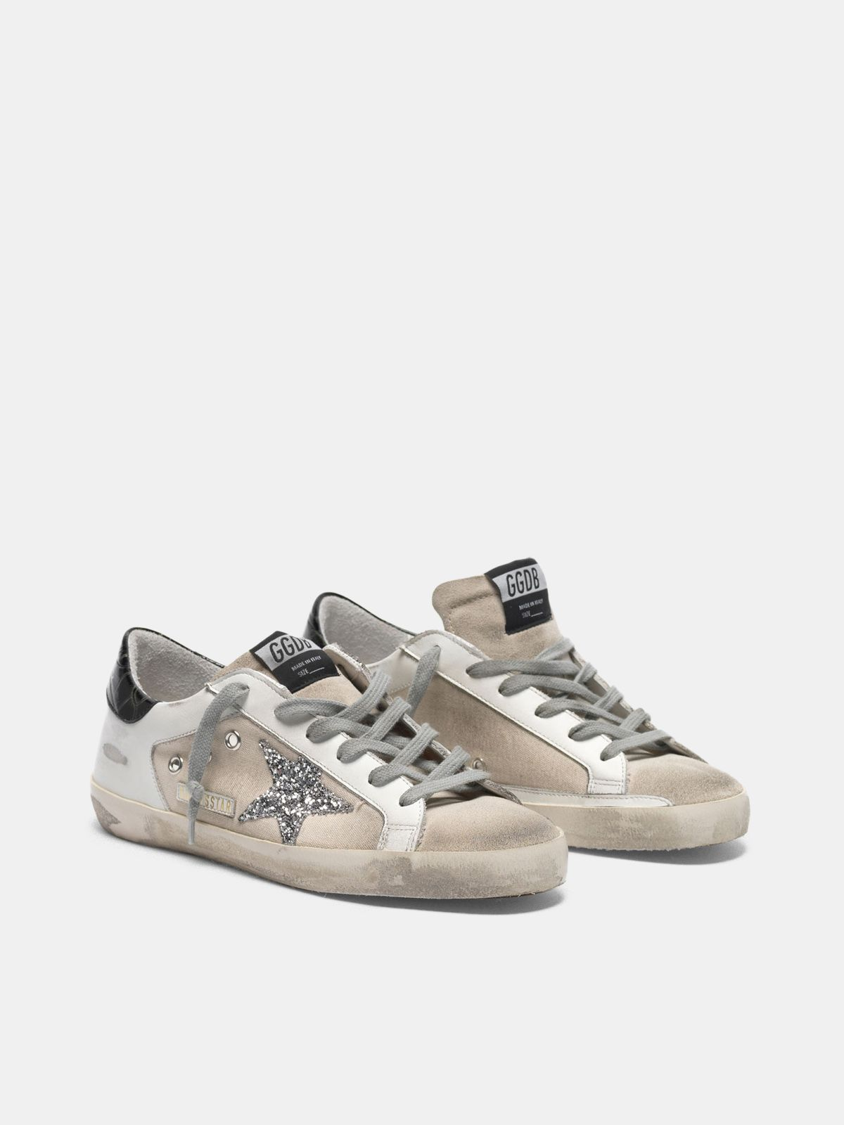 Golden Goose - Canvas Super-Star sneakers in leather with glittery star in