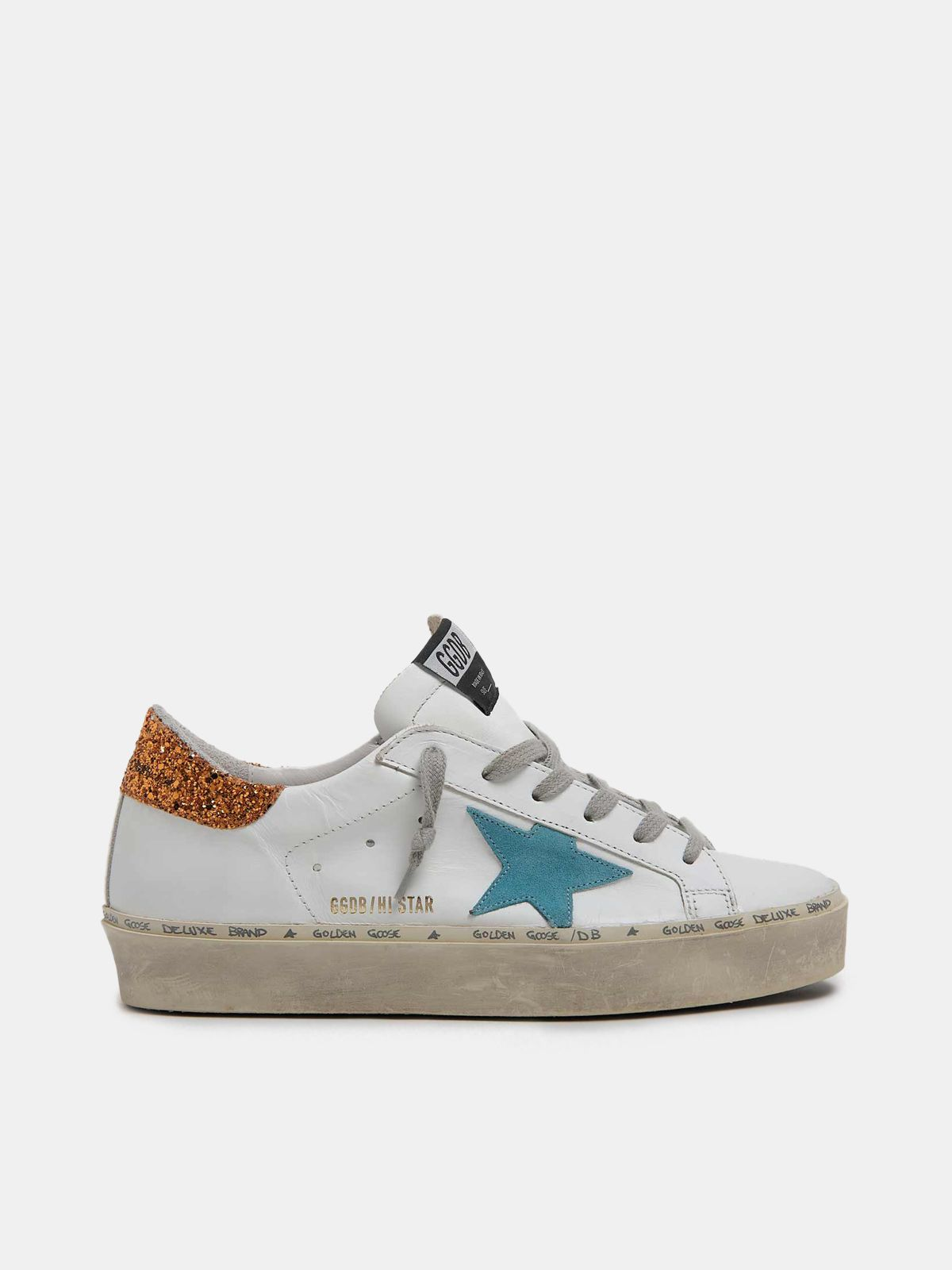 White Hi-Star sneakers with sky-blue star and glittery heel tab