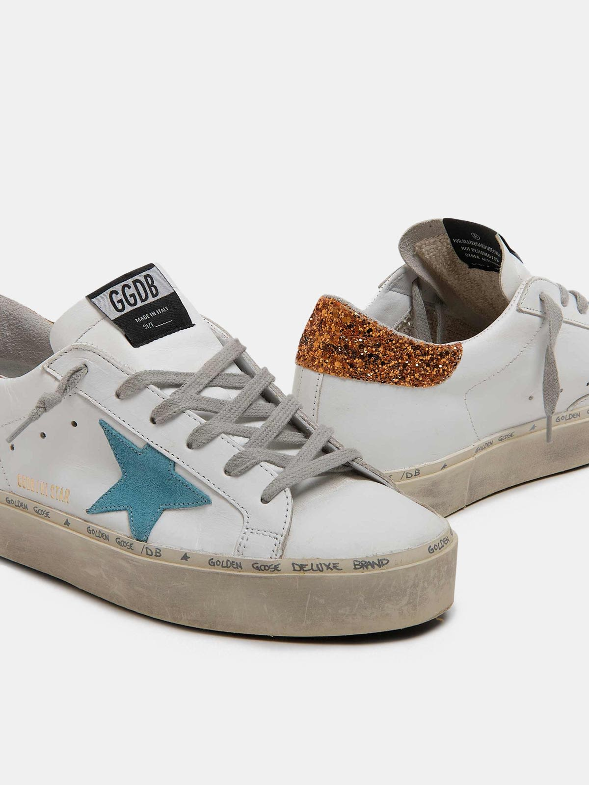 Golden Goose - White Hi-Star sneakers with sky-blue star and glittery heel tab in