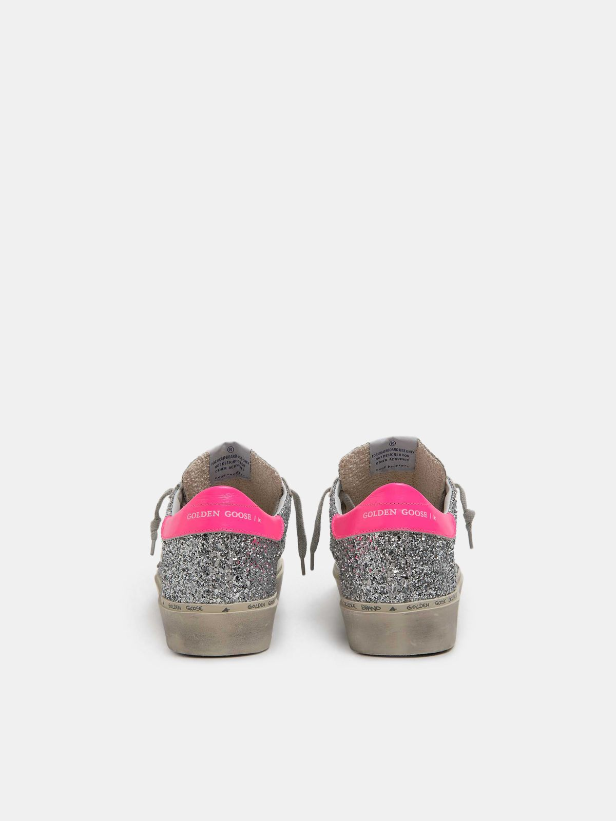 Golden Goose - Hi Star sneakers with silver glitter and fuchsia heel tab in