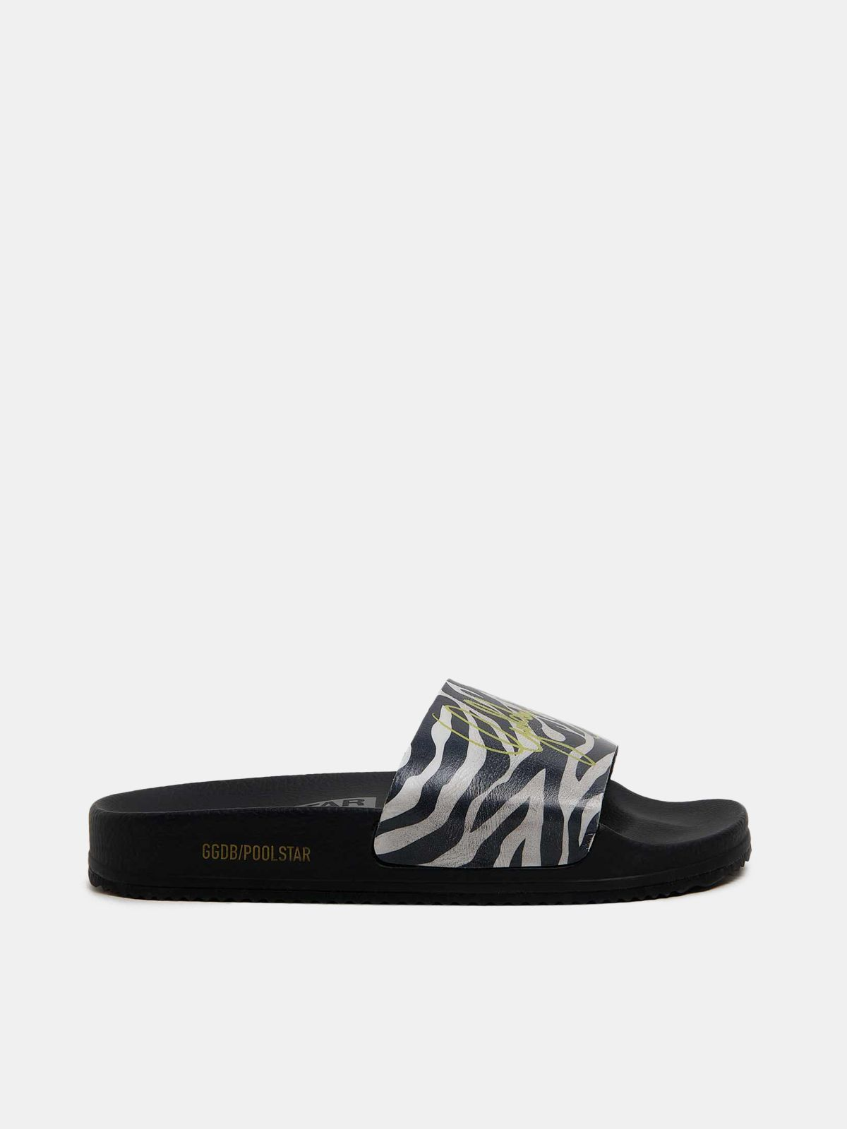 Women's Poolstars with zebra-pattern strap
