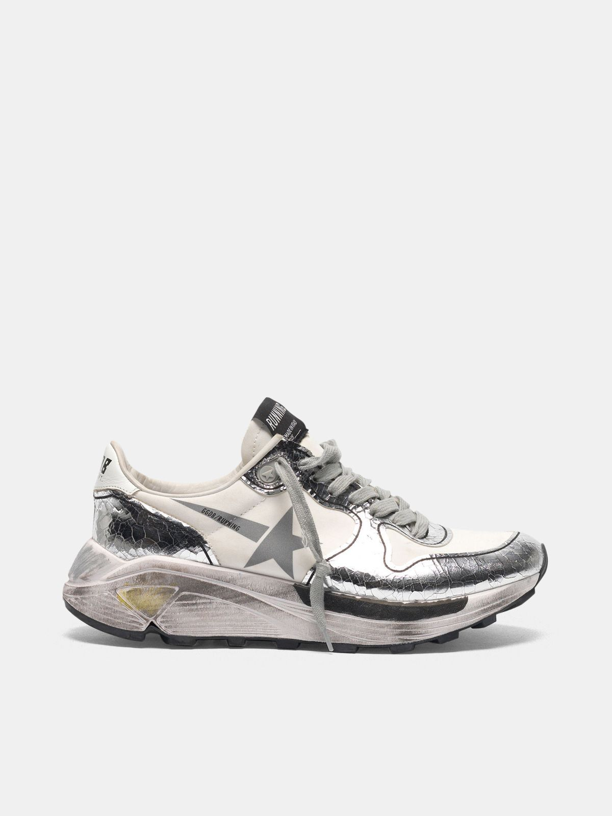 Golden Goose - Silver and white Running Sole sneakers in