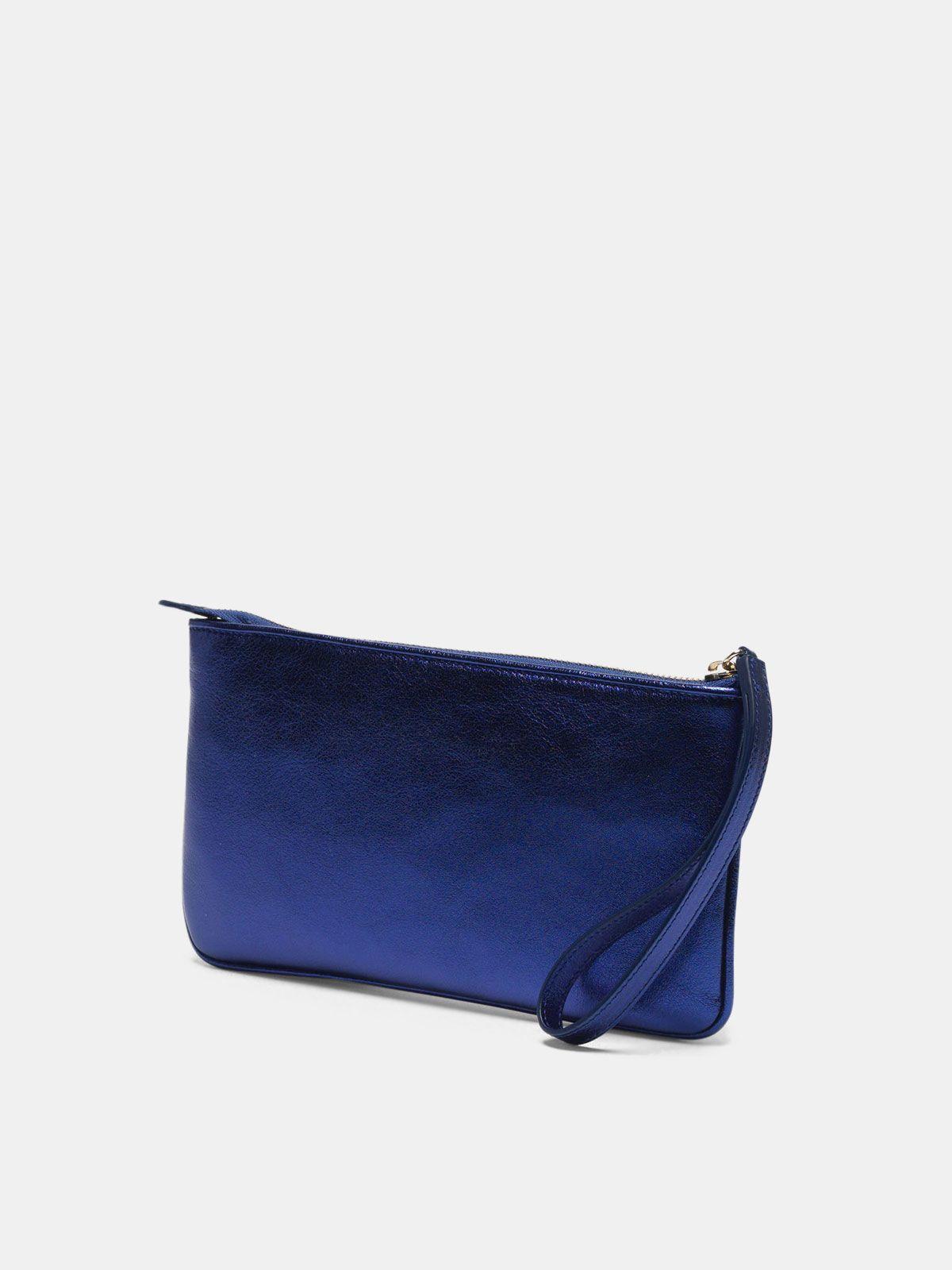 Golden Goose - Metallic blue Star Wrist clutch bag   in