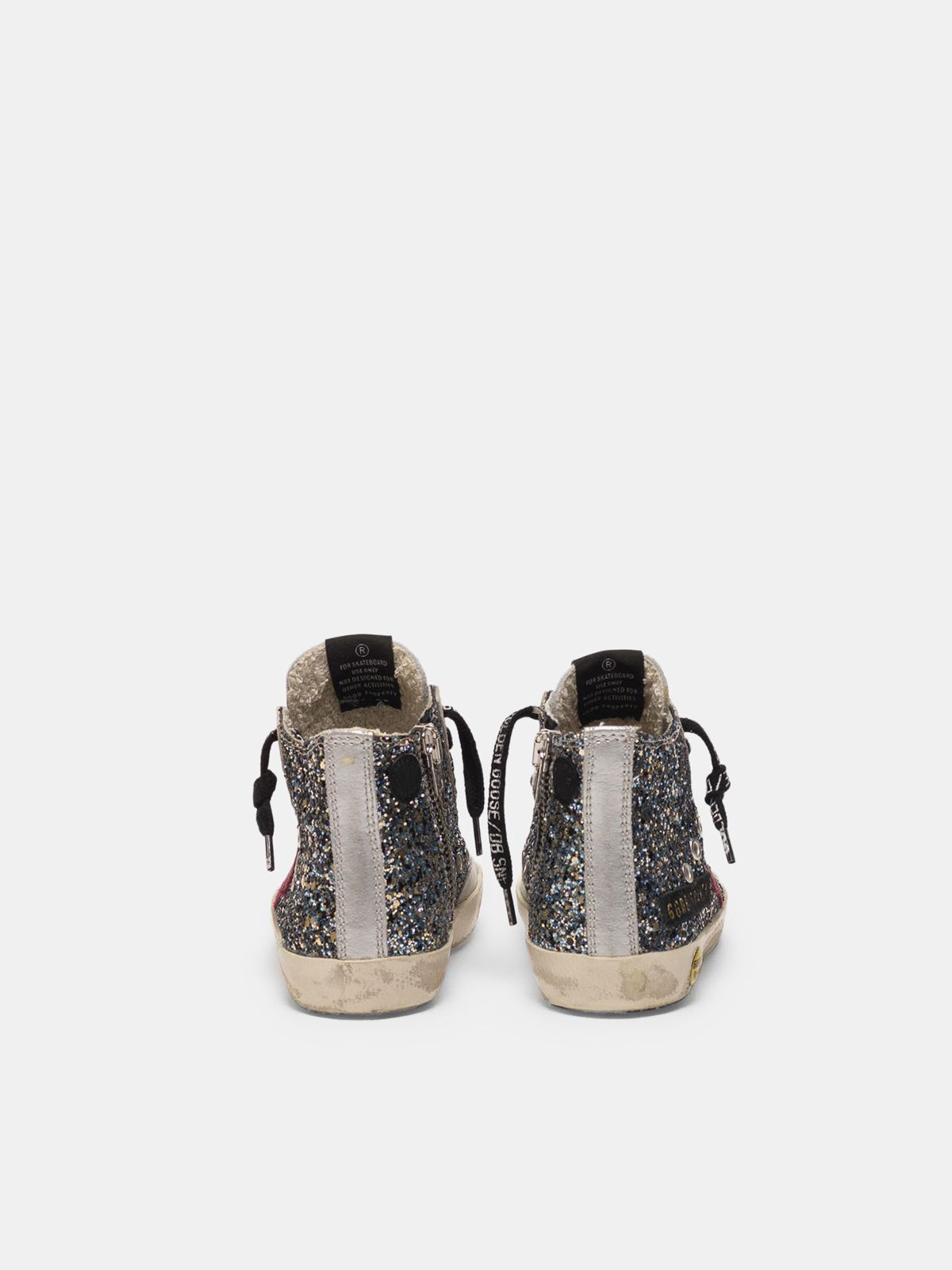 Golden Goose - Francy sneakers in silver leather with glitter star in