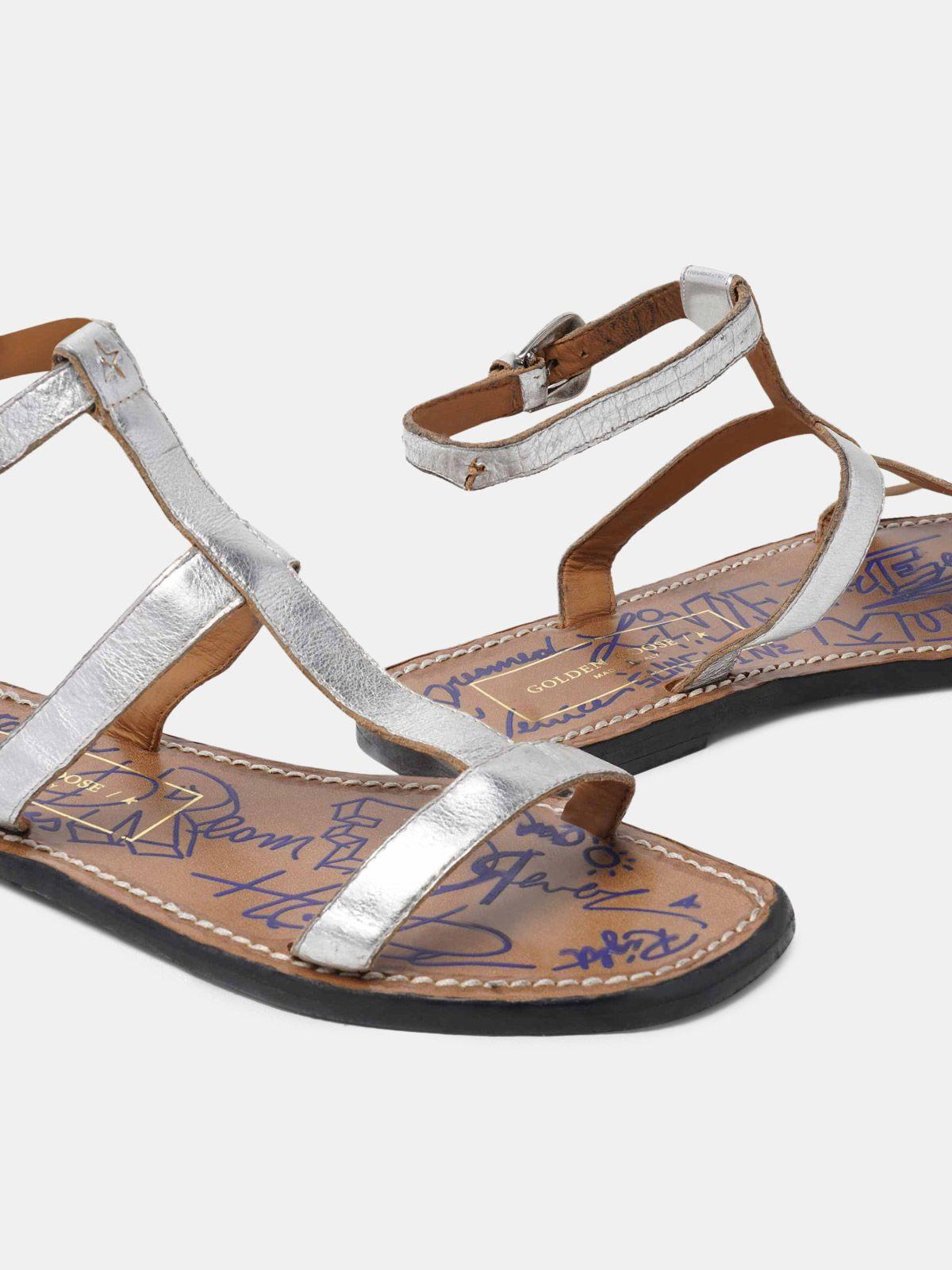Golden Goose - Dakota sandals in silver leather in