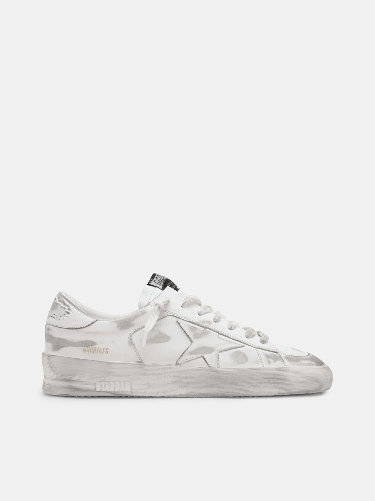 Stardan sneakers in white leather with lived-in treatment