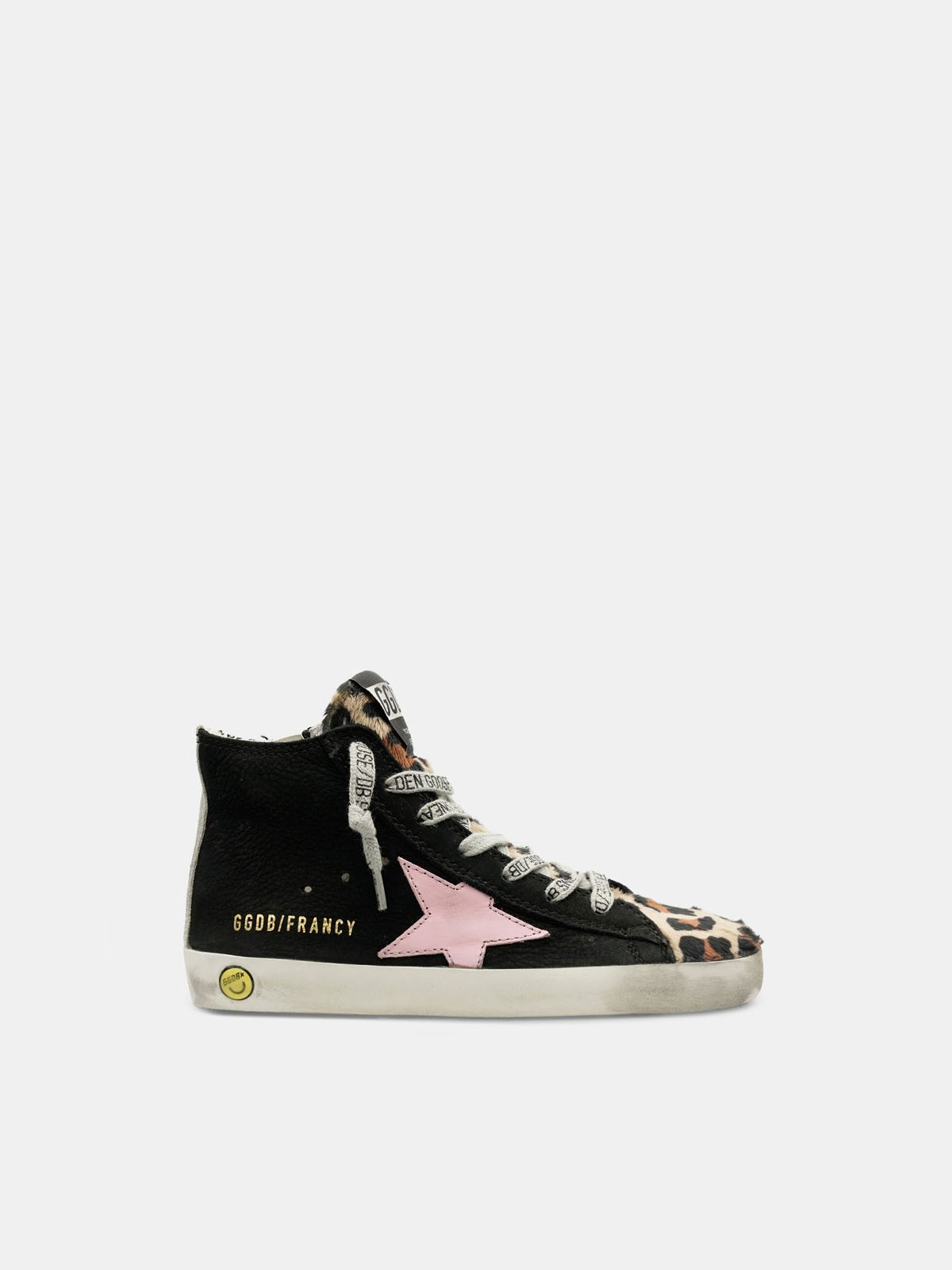 Golden Goose - Francy sneakers made of nubuck and pony skin with a leopard print. in