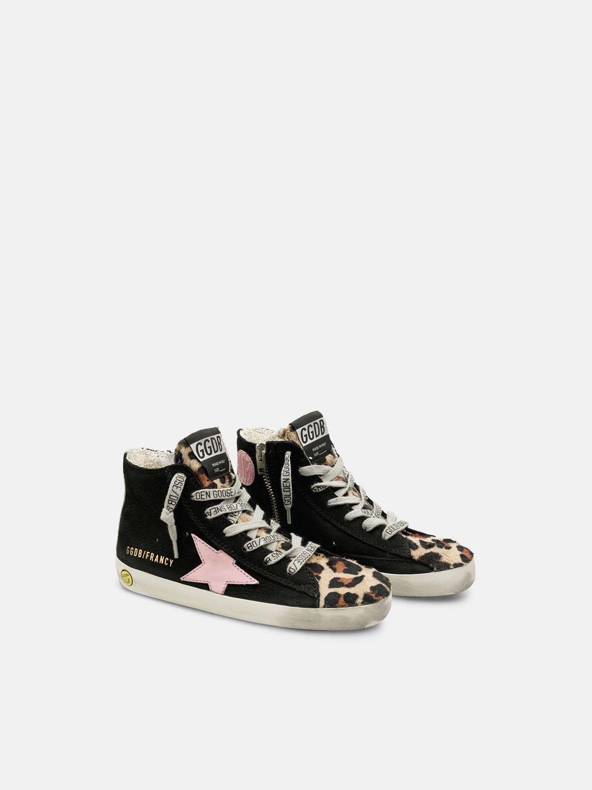 Golden Goose - Zapatillas deportivas Francy de nobuk y piel efecto potro con estampado de leopardo in