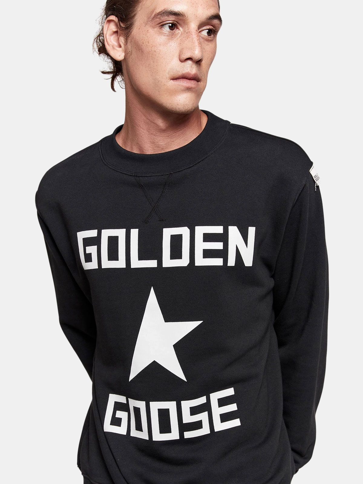 Golden Goose - Hisao sweatshirt in cotton jersey with logo print in