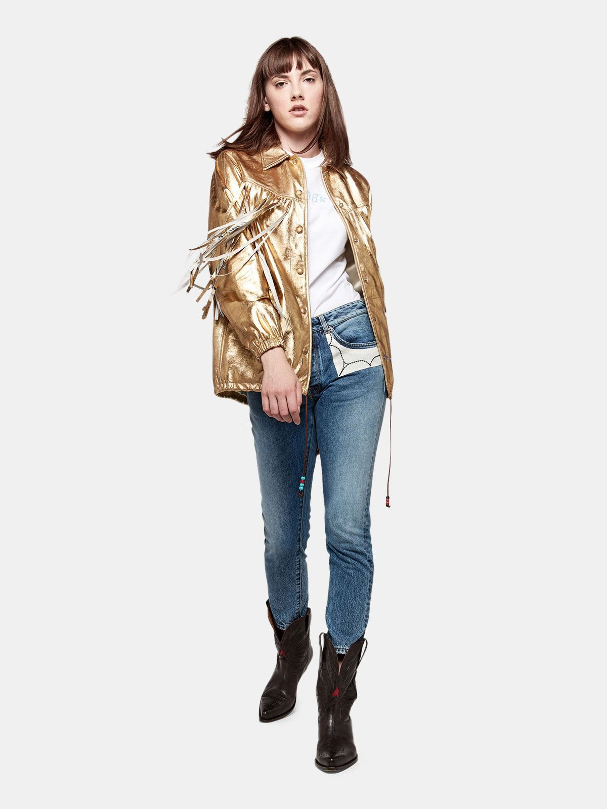 Golden Goose - Jolly jeans in cotton denim with embroidered patches in