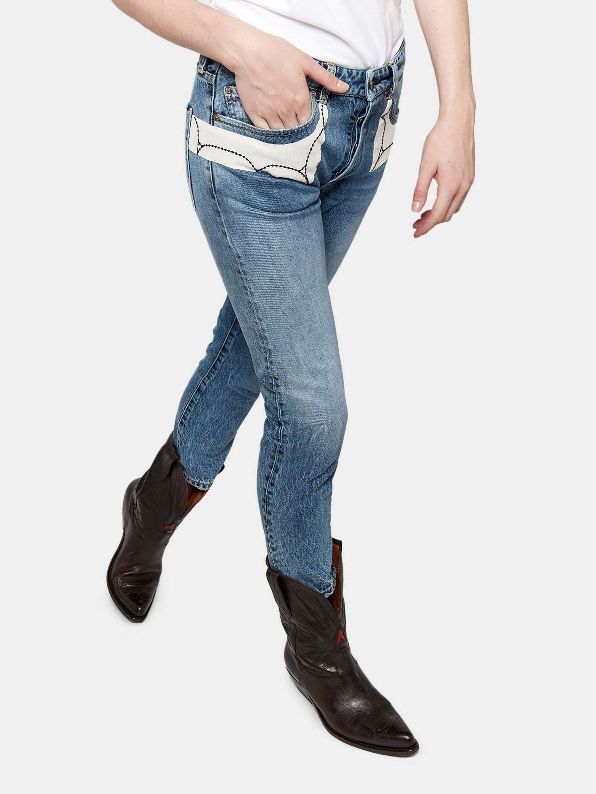 Golden Goose - Jeans Jolly  in denim di cotone con patch ricamate in