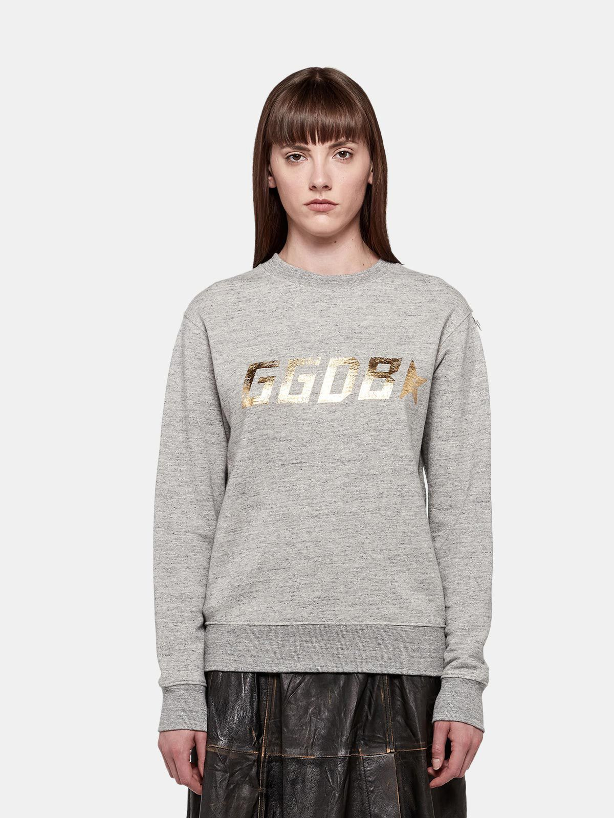 Golden Goose - Felpa Aiako grigia in puro cotone con stampa logo in
