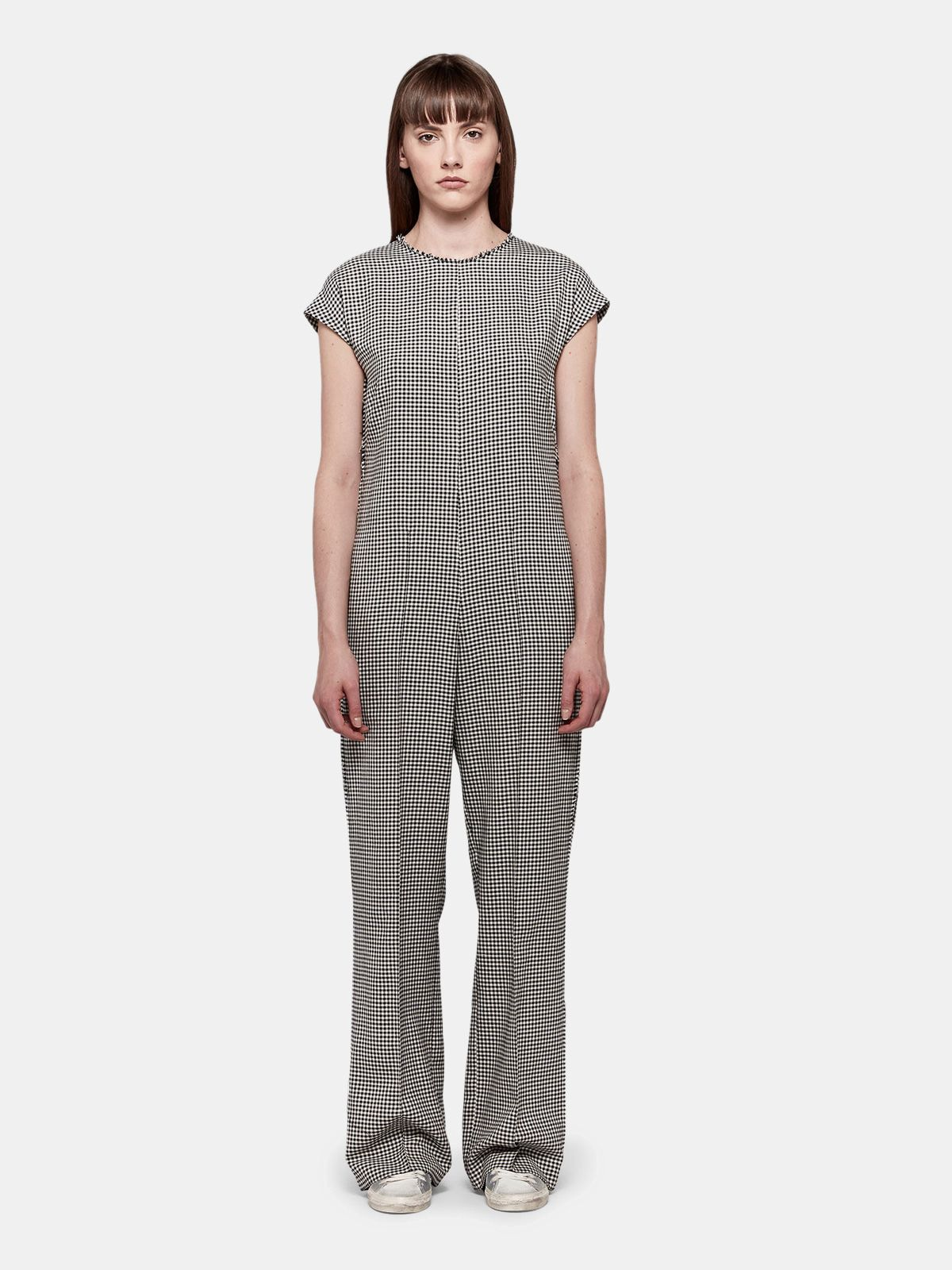 Golden Goose - Narumi jumpsuit in cotton and wool with checked pattern in