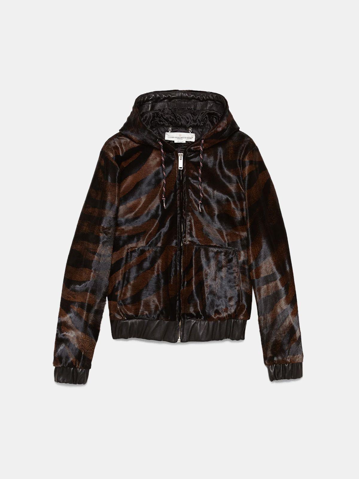 Golden Goose - Oniyuri sweatshirt in zebra-print pony skin with hood  in