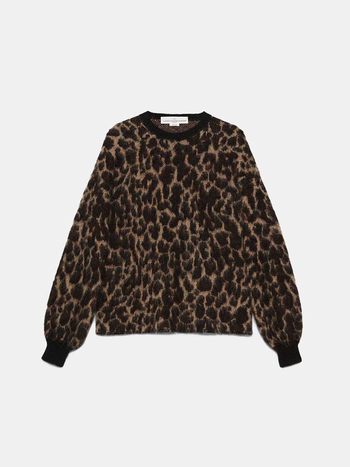 Golden Goose - Kaneshon sweater in wool blend jacquard with leopard pattern in