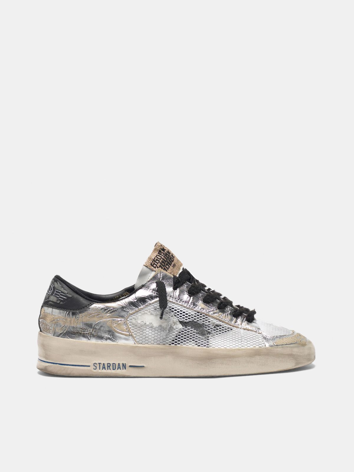 Golden Goose - Stardan LTD sneakers in laminated silver with floral design relief in