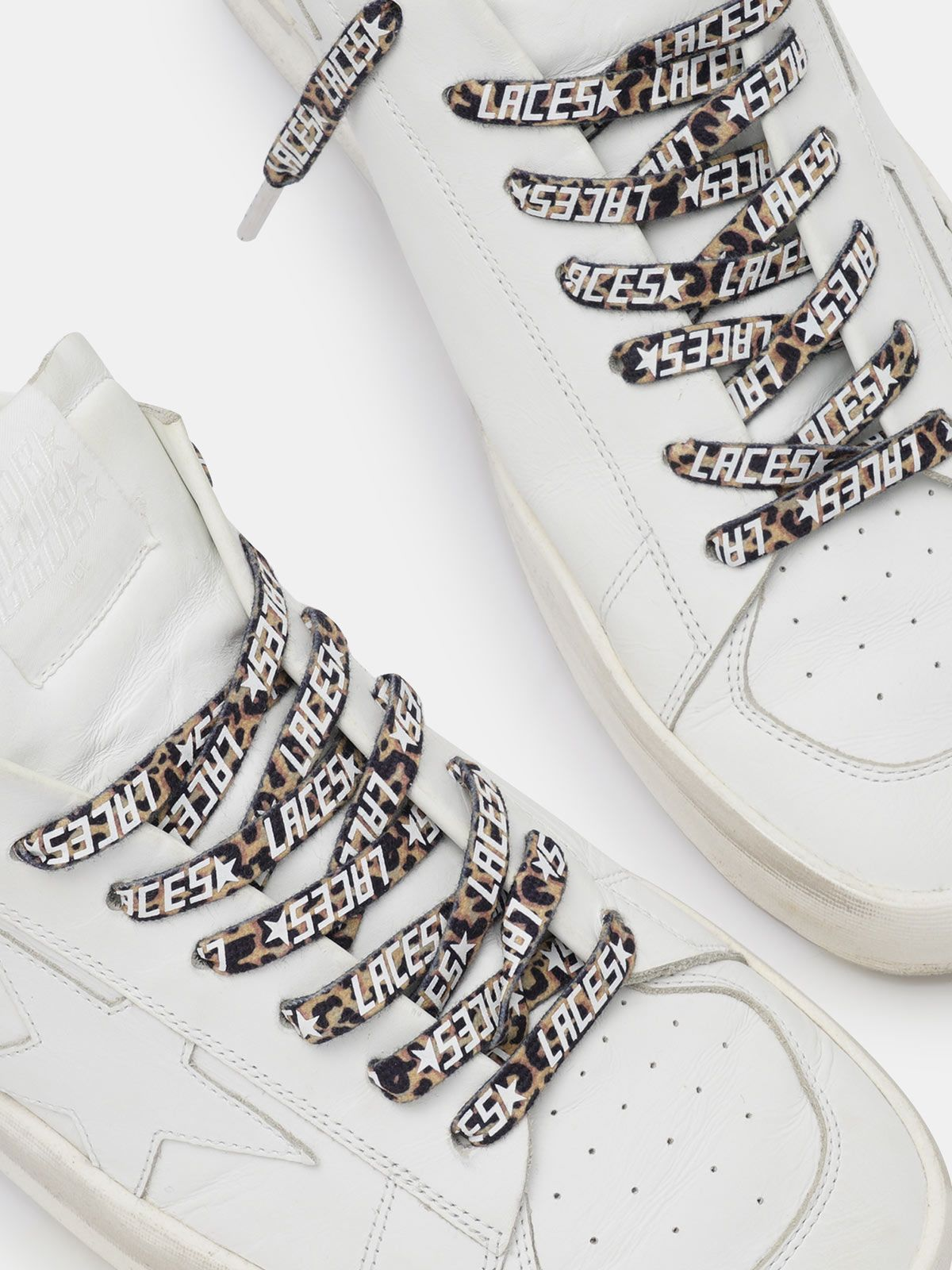 Golden Goose - Men's leopard-print laces with white laces print in