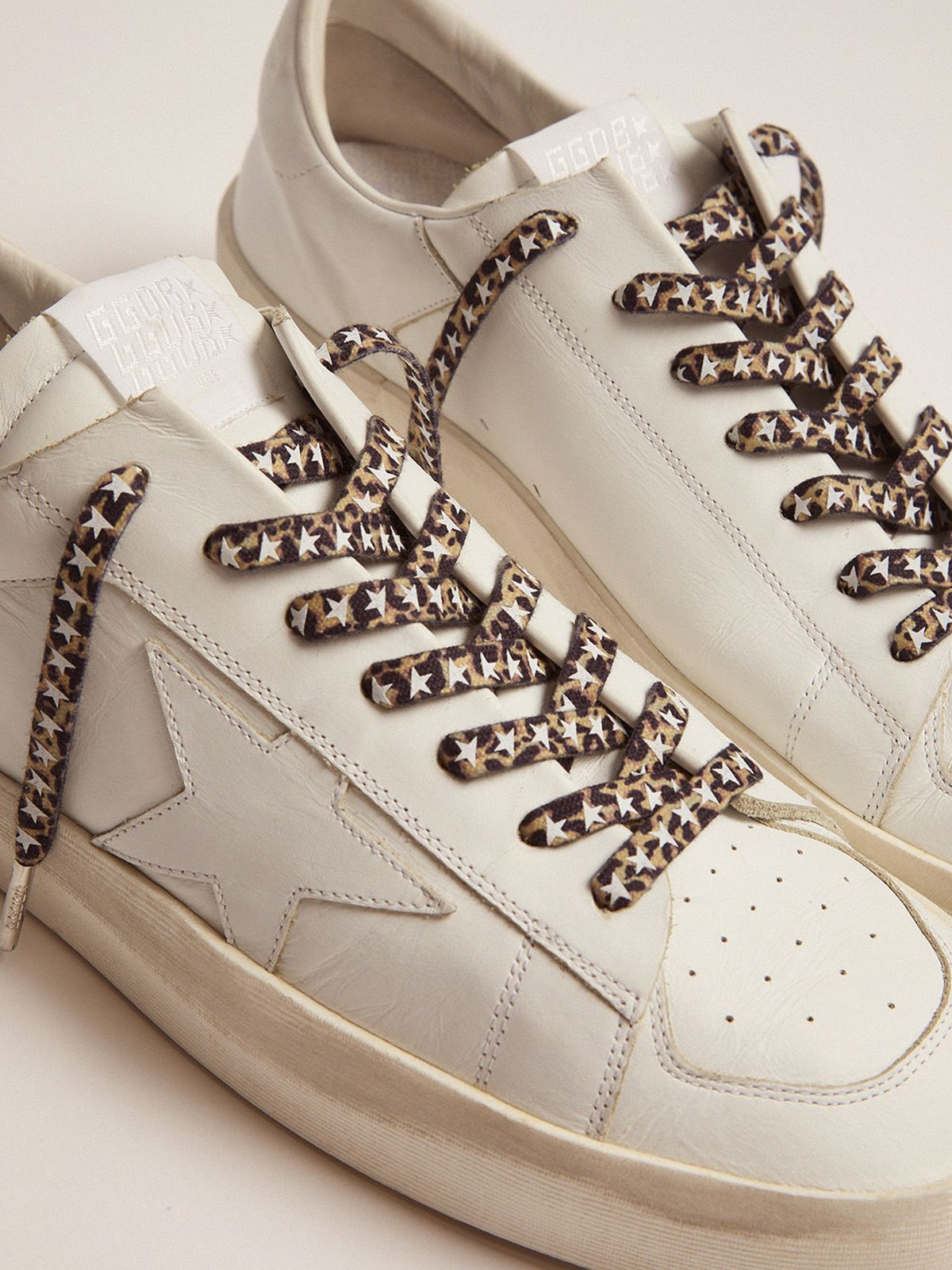 Golden Goose - Men's leopard-print laces with white stars in