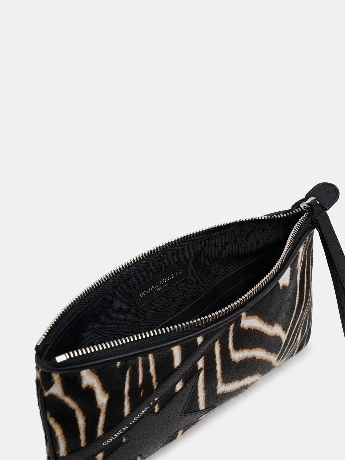 Golden Goose - Star Wrist clutch bag made of zebra print pony-effect leather in