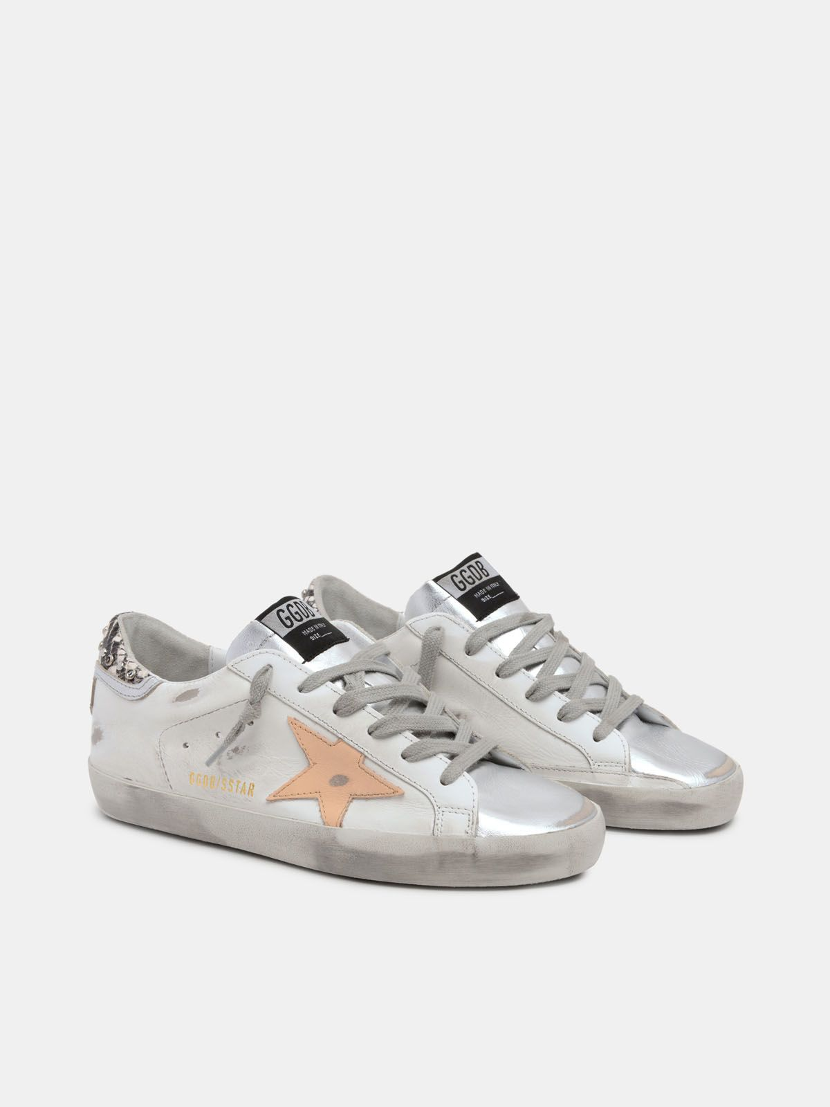 Golden Goose - White Super-Star sneakers with python-print and rhinestone heel tab in