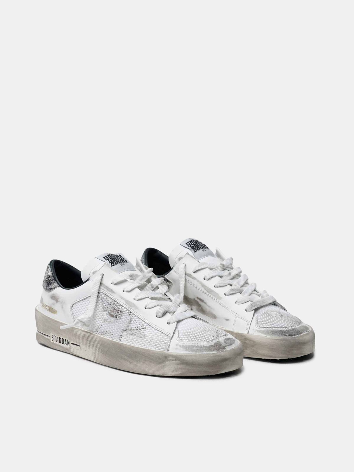 Golden Goose - White Stardan sneakers with python heel tab in